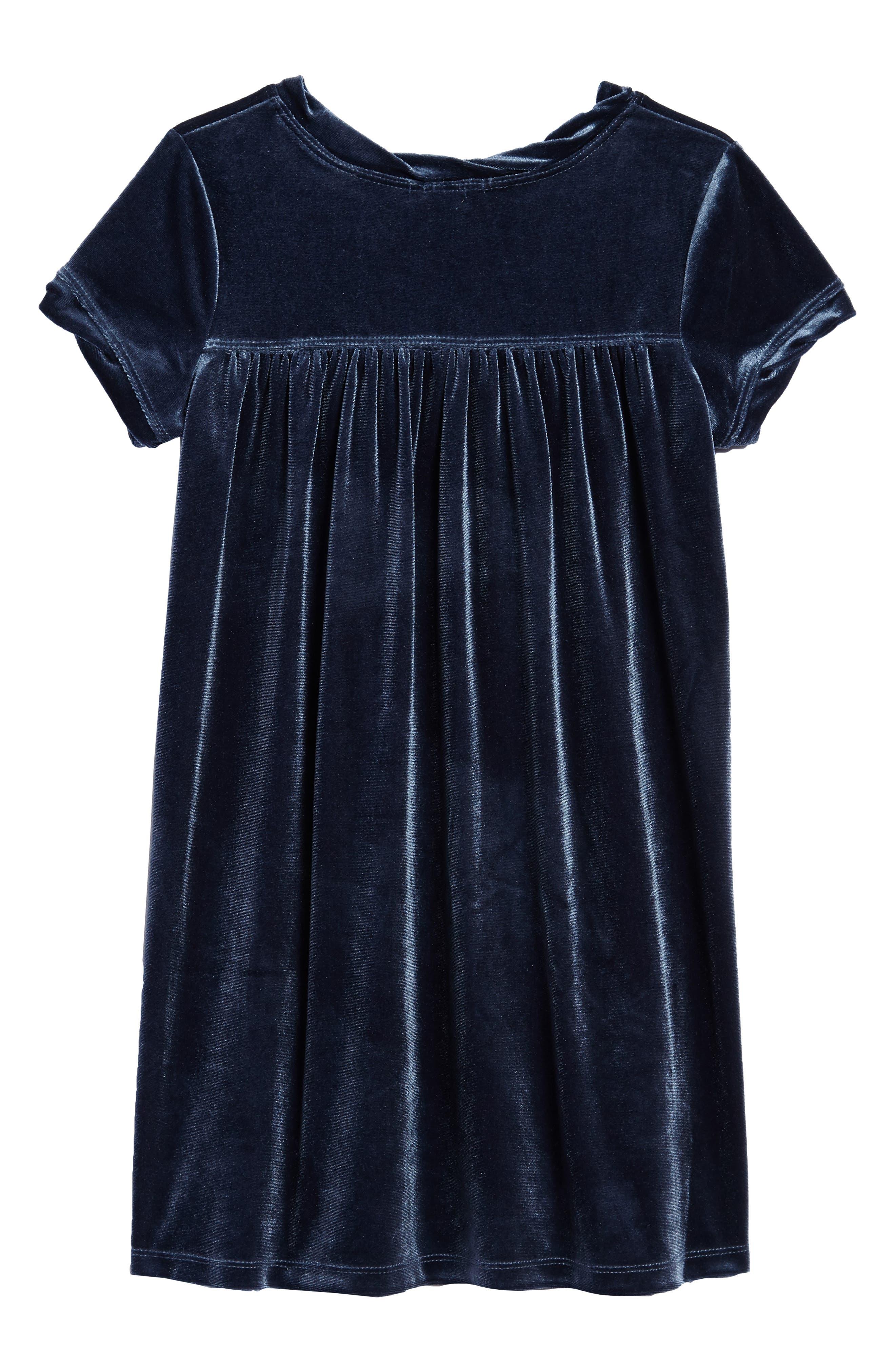 Velour Shift Dress,                             Alternate thumbnail 2, color,                             Blue
