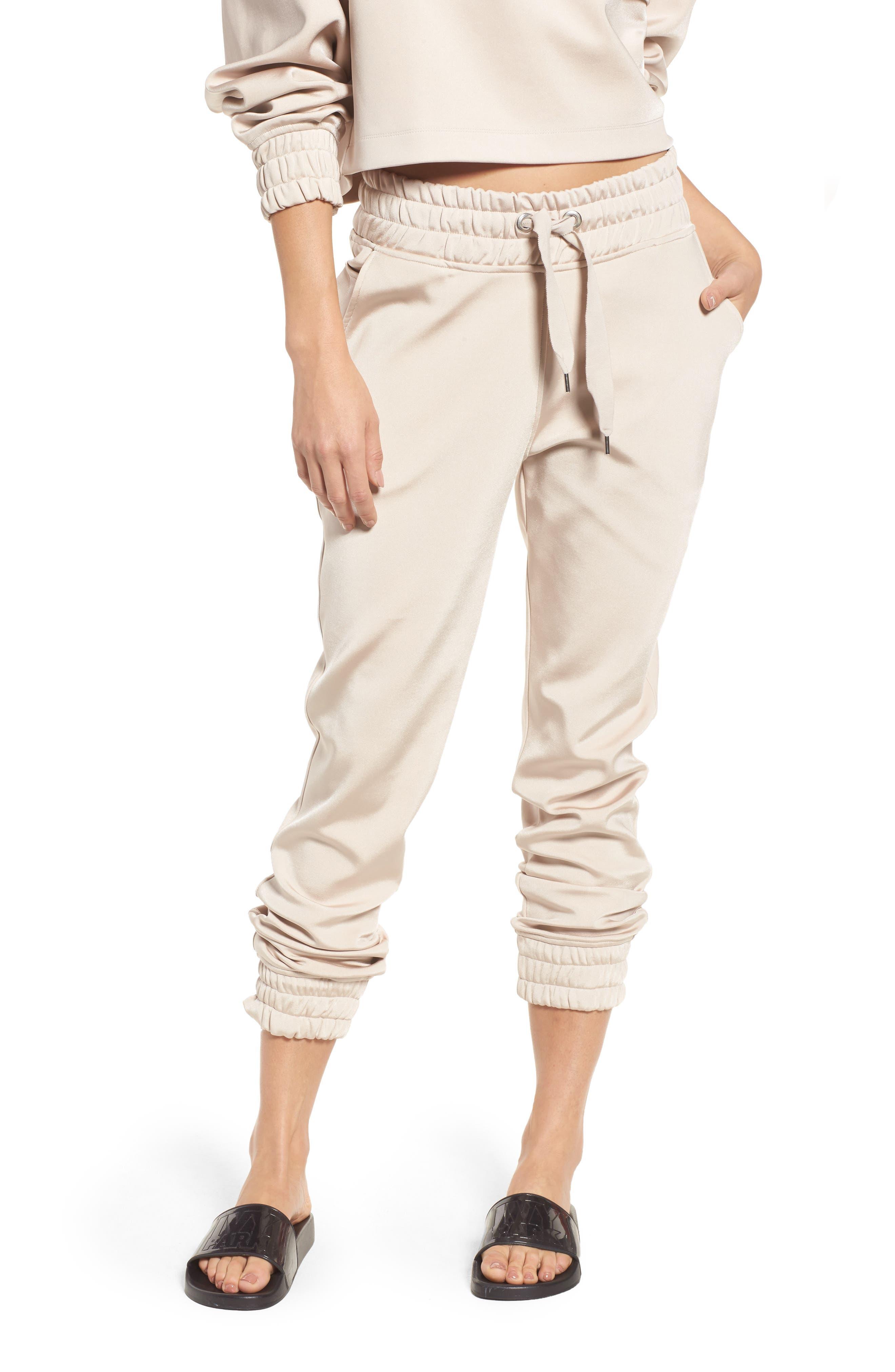 Satin Jogger Pants,                         Main,                         color, Taupe