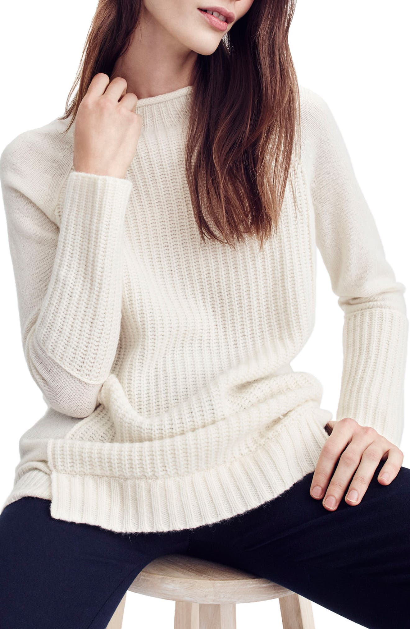 J.Crew New England Mock Neck Wool Tunic Sweater,                         Main,                         color, Natural