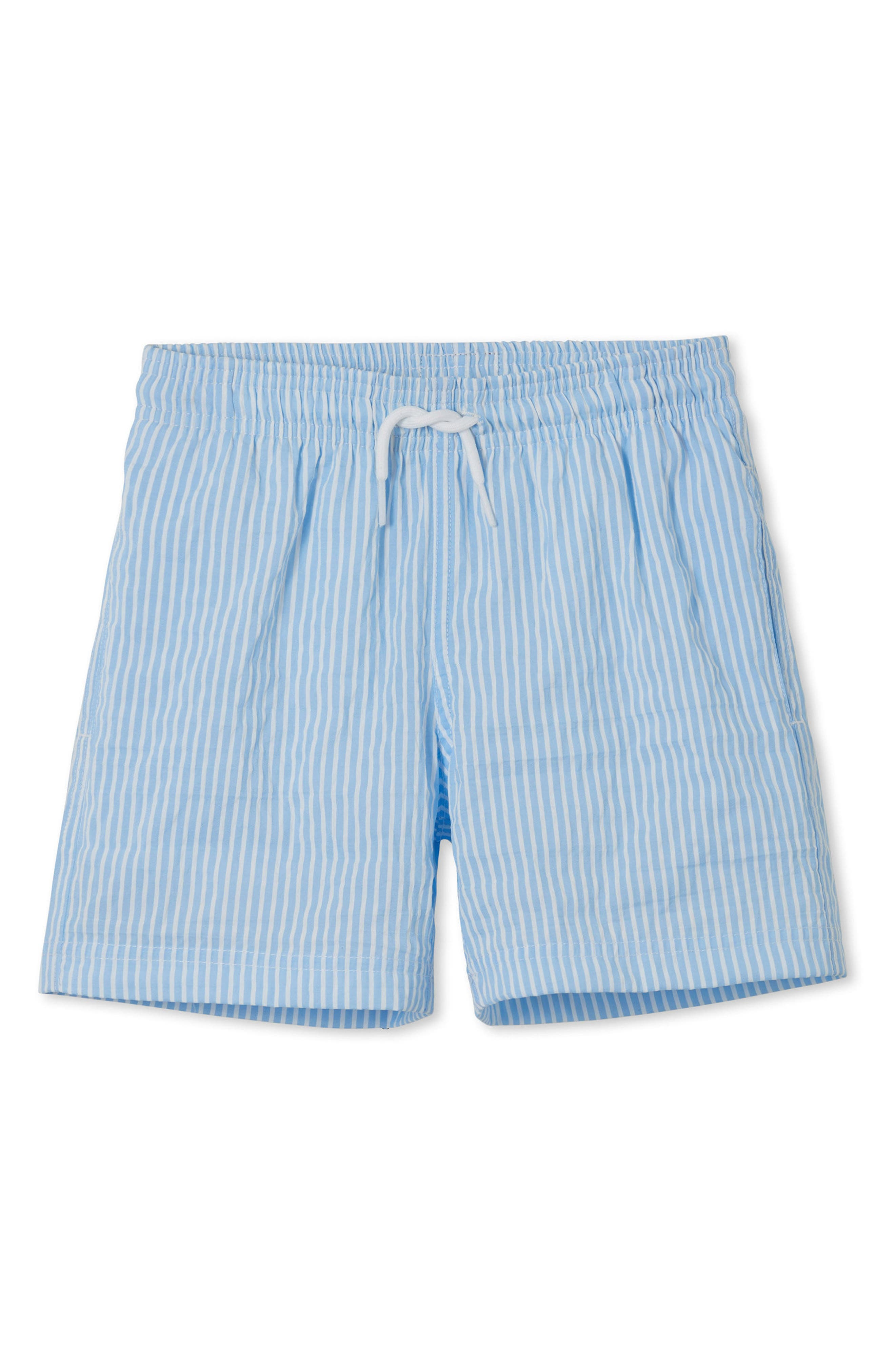 Blue Stripe Swim Trunks,                             Main thumbnail 1, color,                             Blue
