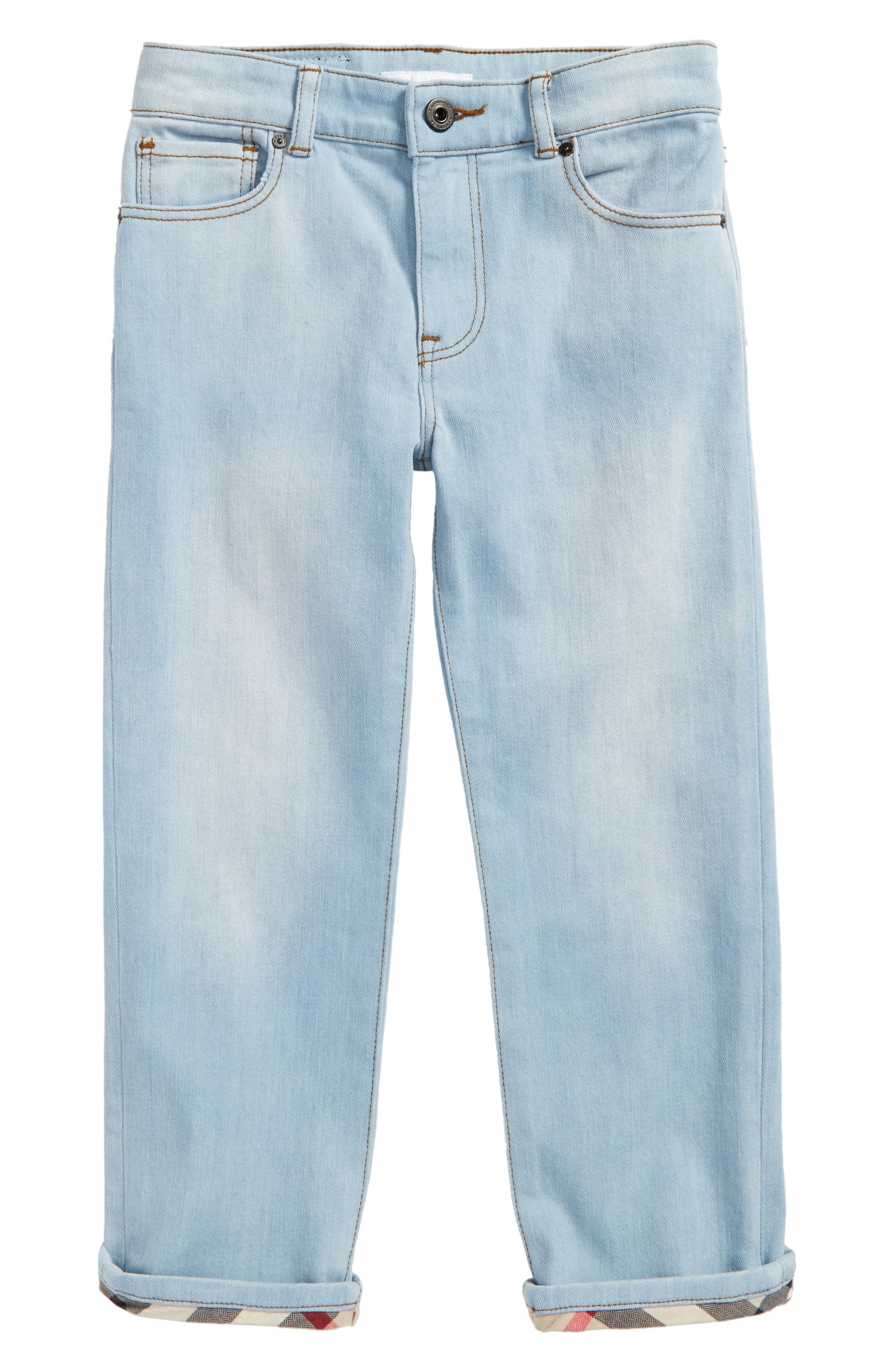 Main Image - Burberry Check Cuff Straight Leg Jeans (Little Boys & Big Boys)