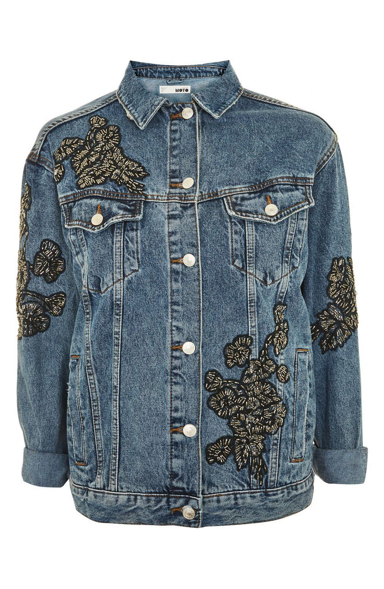 Embellished Denim Jacket,                             Alternate thumbnail 5, color,                             Mid Denim