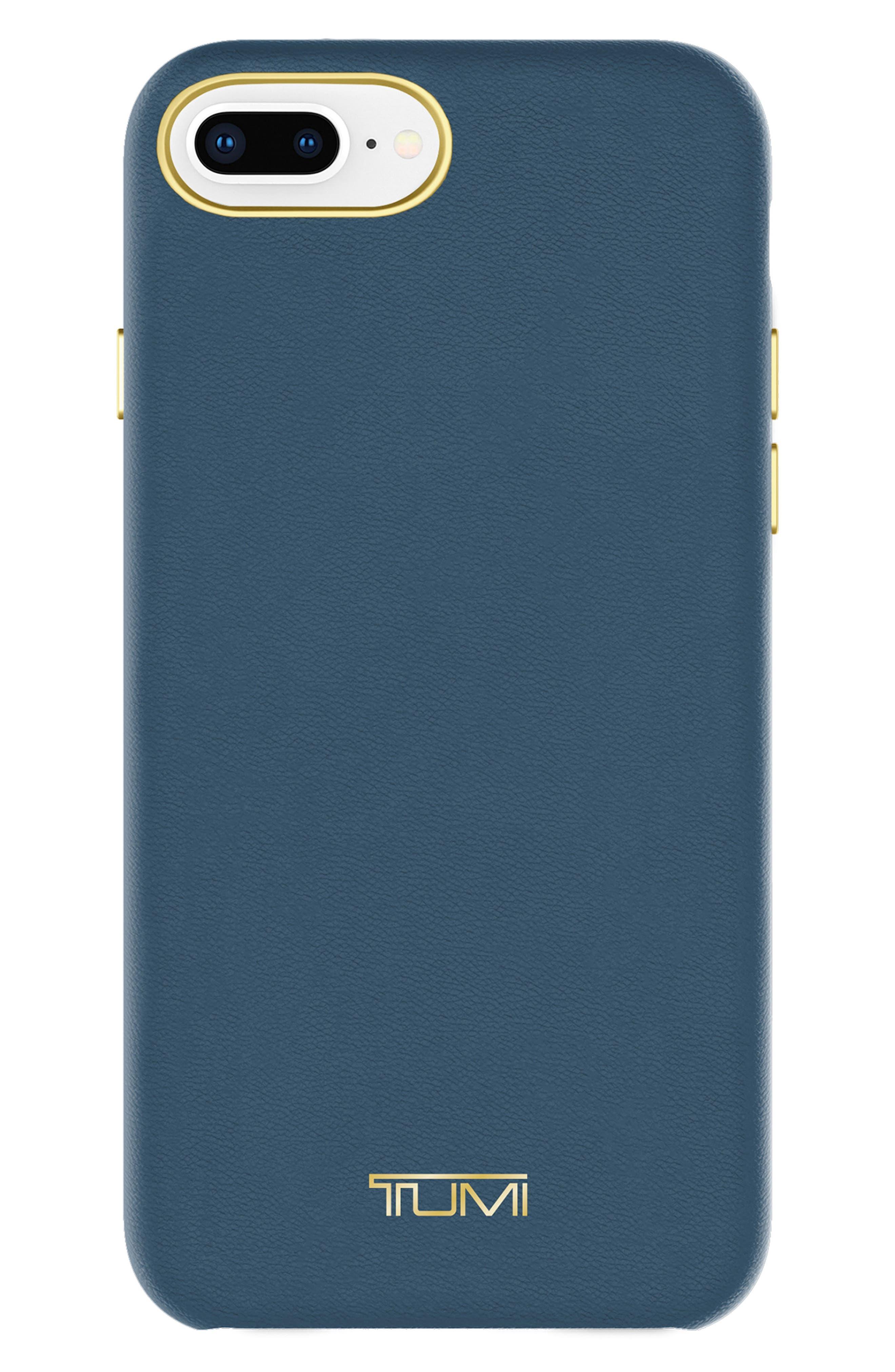 Leather Wrap iPhone 8 Plus Case,                             Main thumbnail 1, color,                             Navy