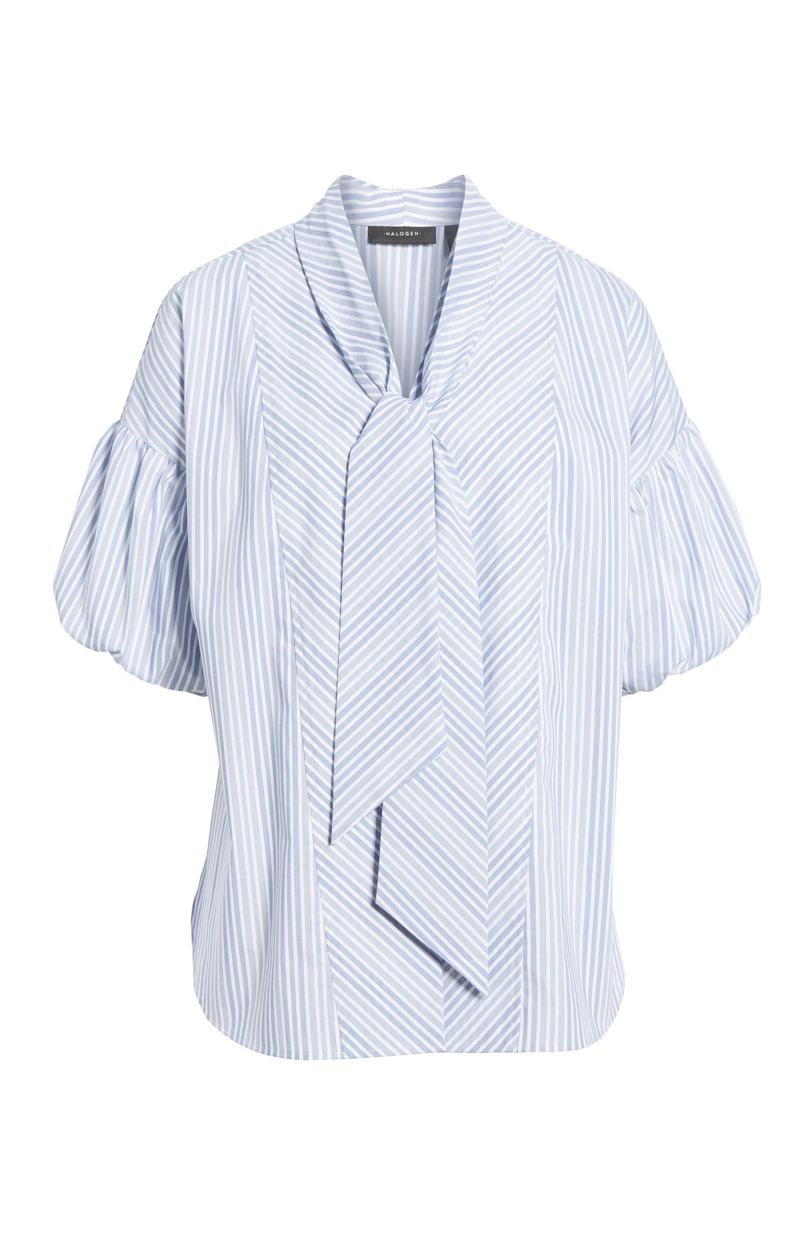 Tie Front Short Sleeve Blouse,                             Alternate thumbnail 7, color,                             Blue- White Stripe
