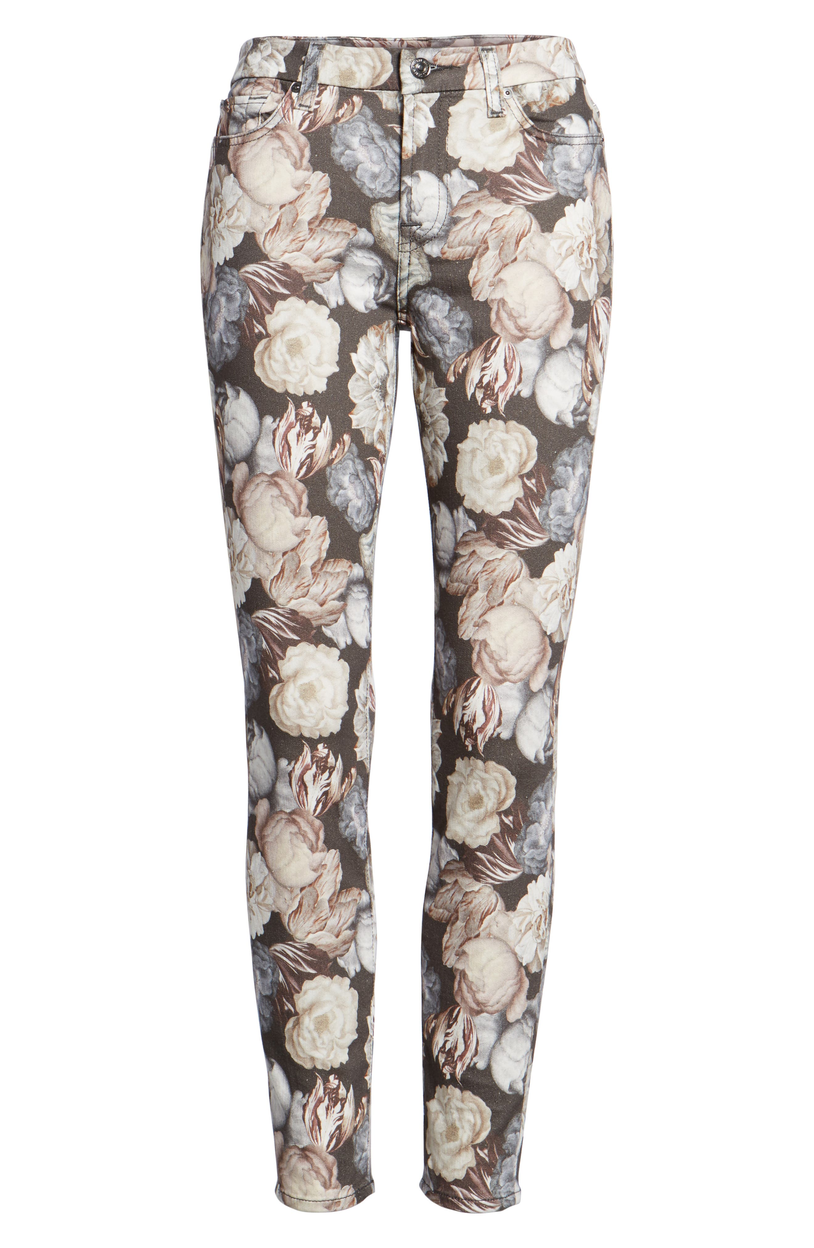 Alternate Image 6  - 7 For All Mankind® The Ankle Skinny Jeans (Amsterdam Floral)