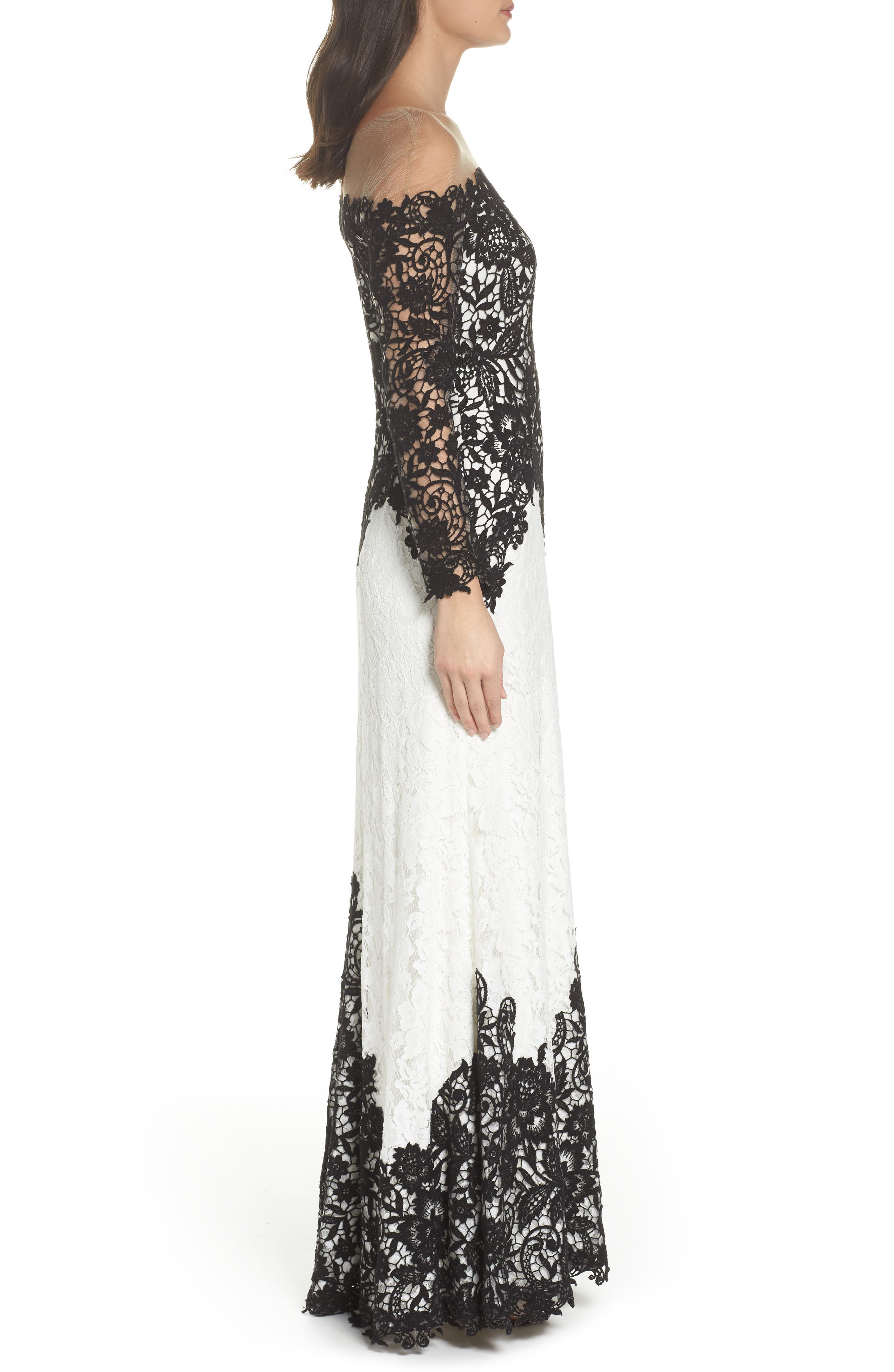 Illusion Neck Two-Tone Lace Gown,                             Alternate thumbnail 3, color,                             Black/ Ivory