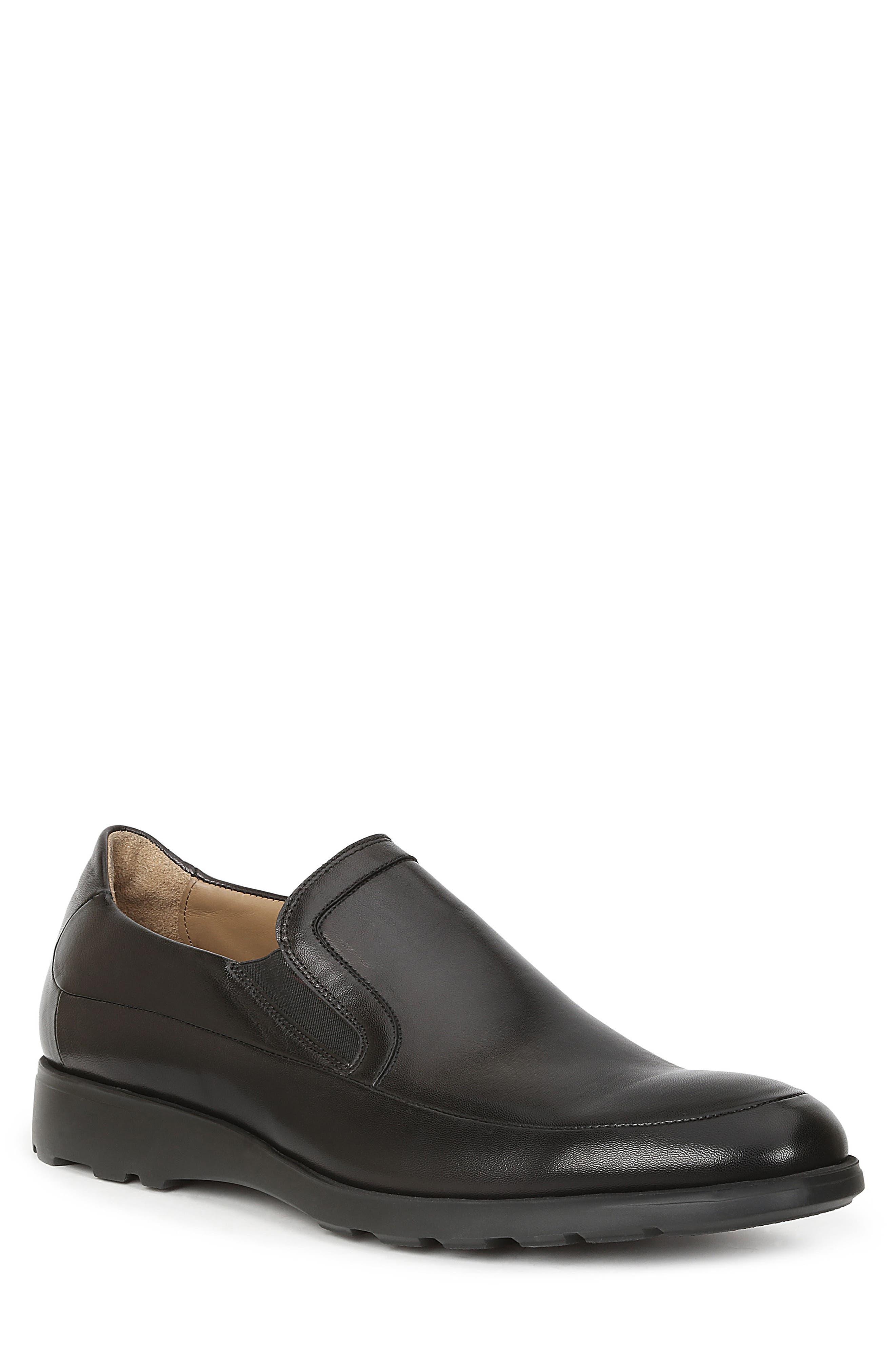 Vegas Apron Toe Loafer,                             Main thumbnail 1, color,                             Black Leather