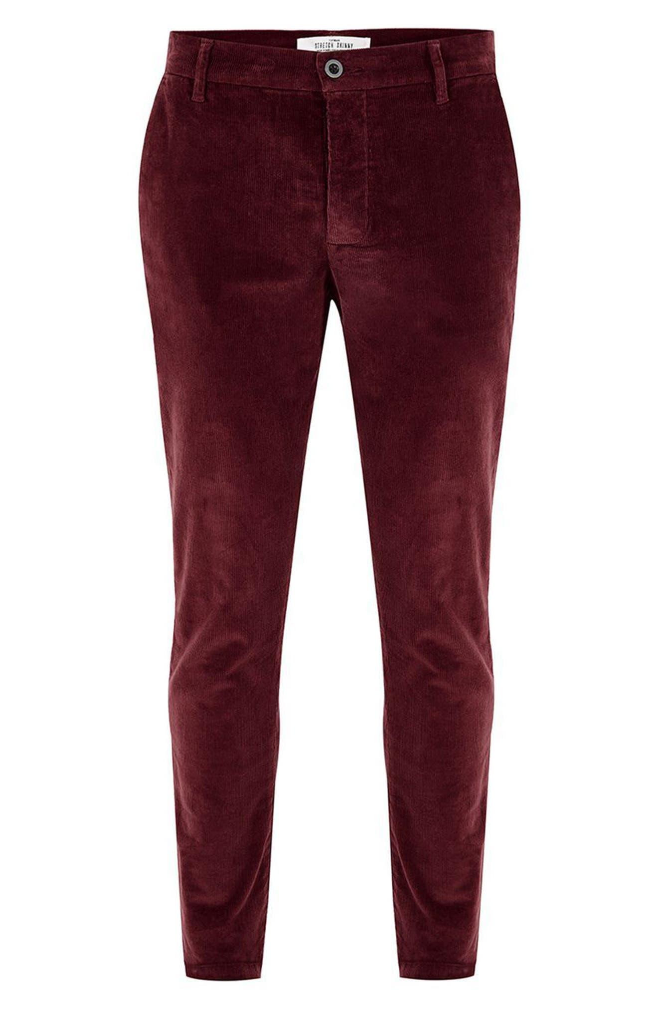 Skinny Fit Corduroy Trousers,                             Alternate thumbnail 4, color,                             Burgundy