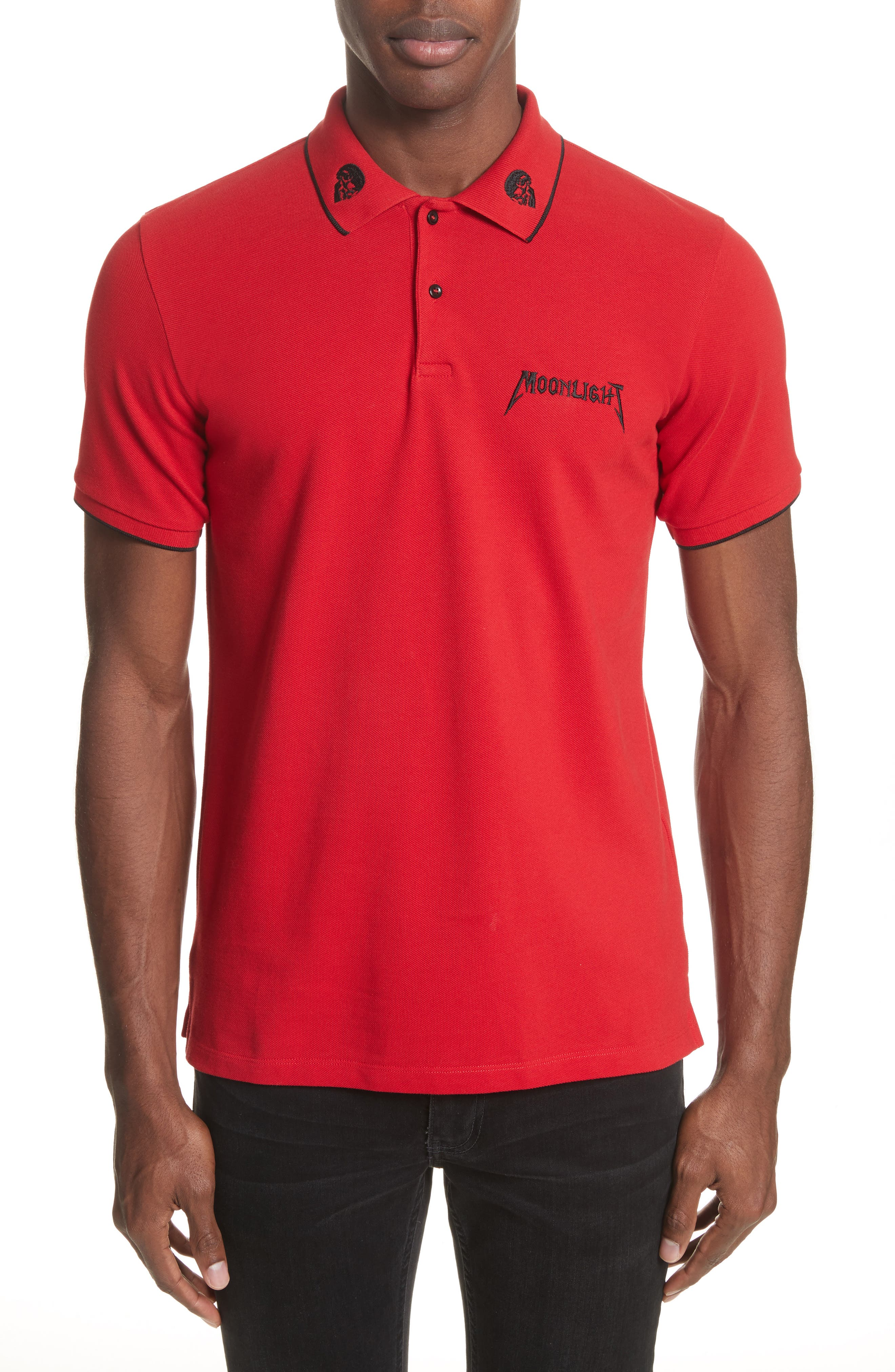 Tipped Piqué Polo,                             Main thumbnail 1, color,                             Red