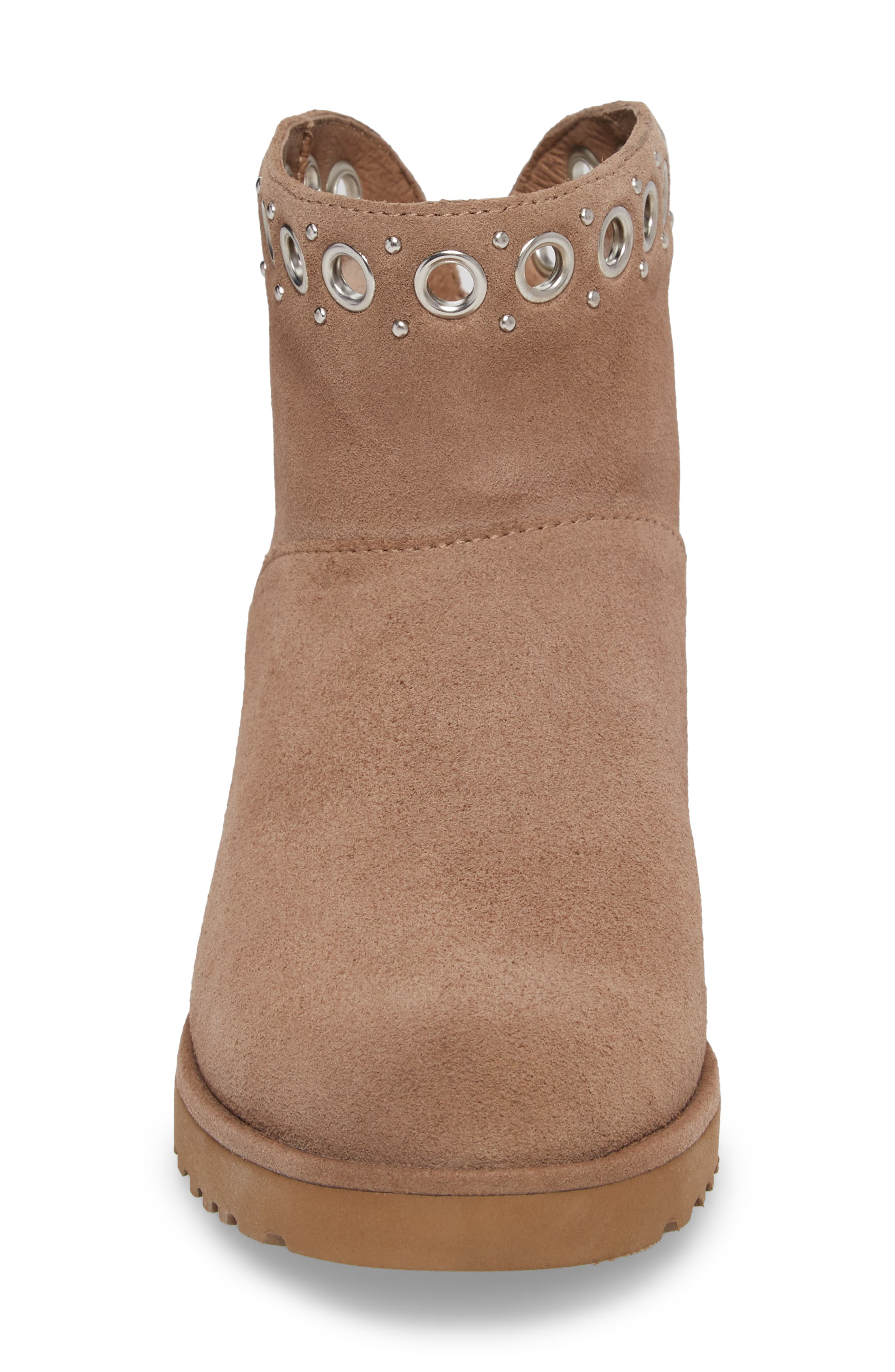 Riley Grommet Wedge Boot,                             Alternate thumbnail 4, color,                             Fawn Suede