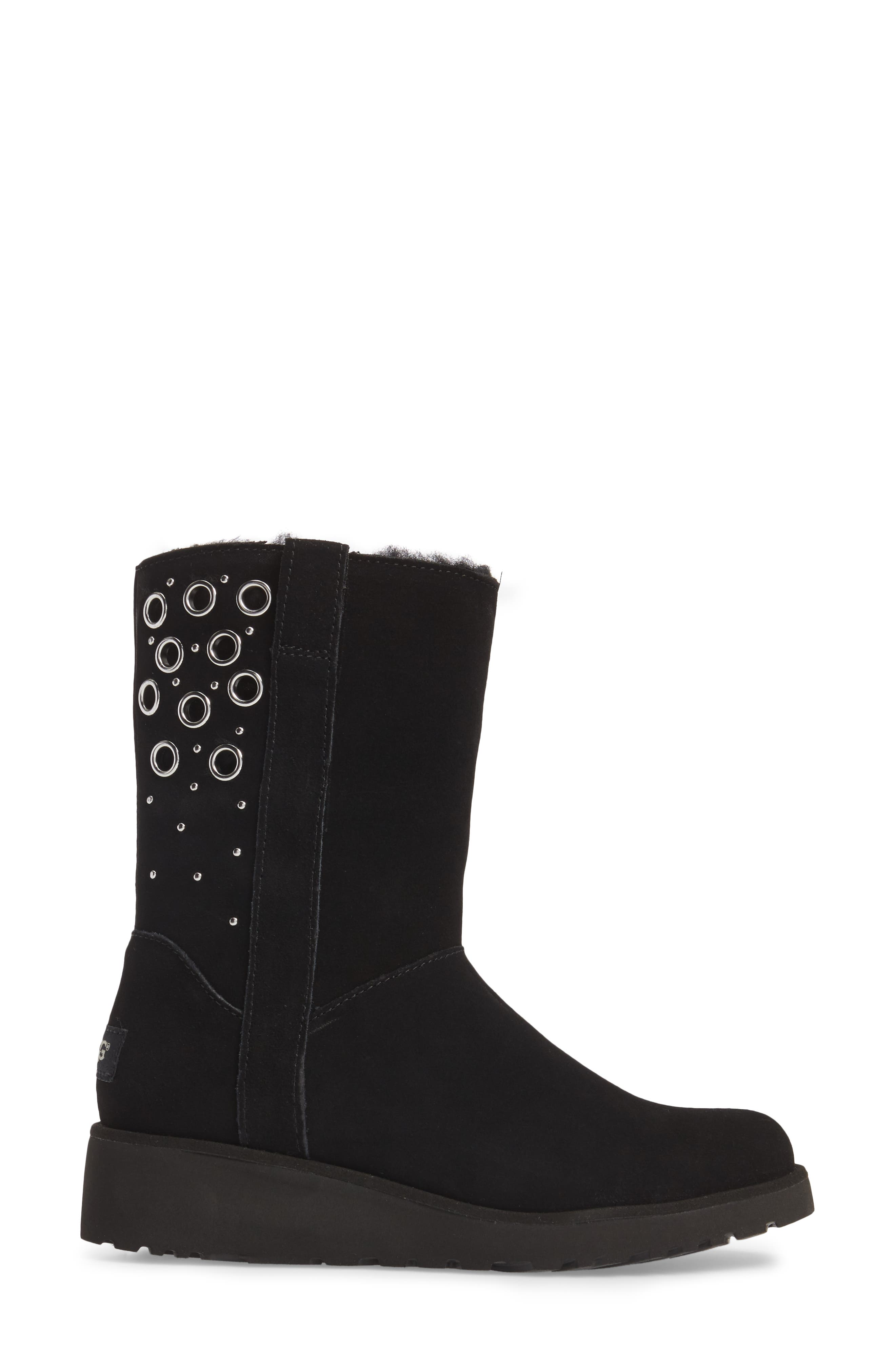 Madison Grommet Wedge Boot,                             Alternate thumbnail 3, color,                             Black Suede