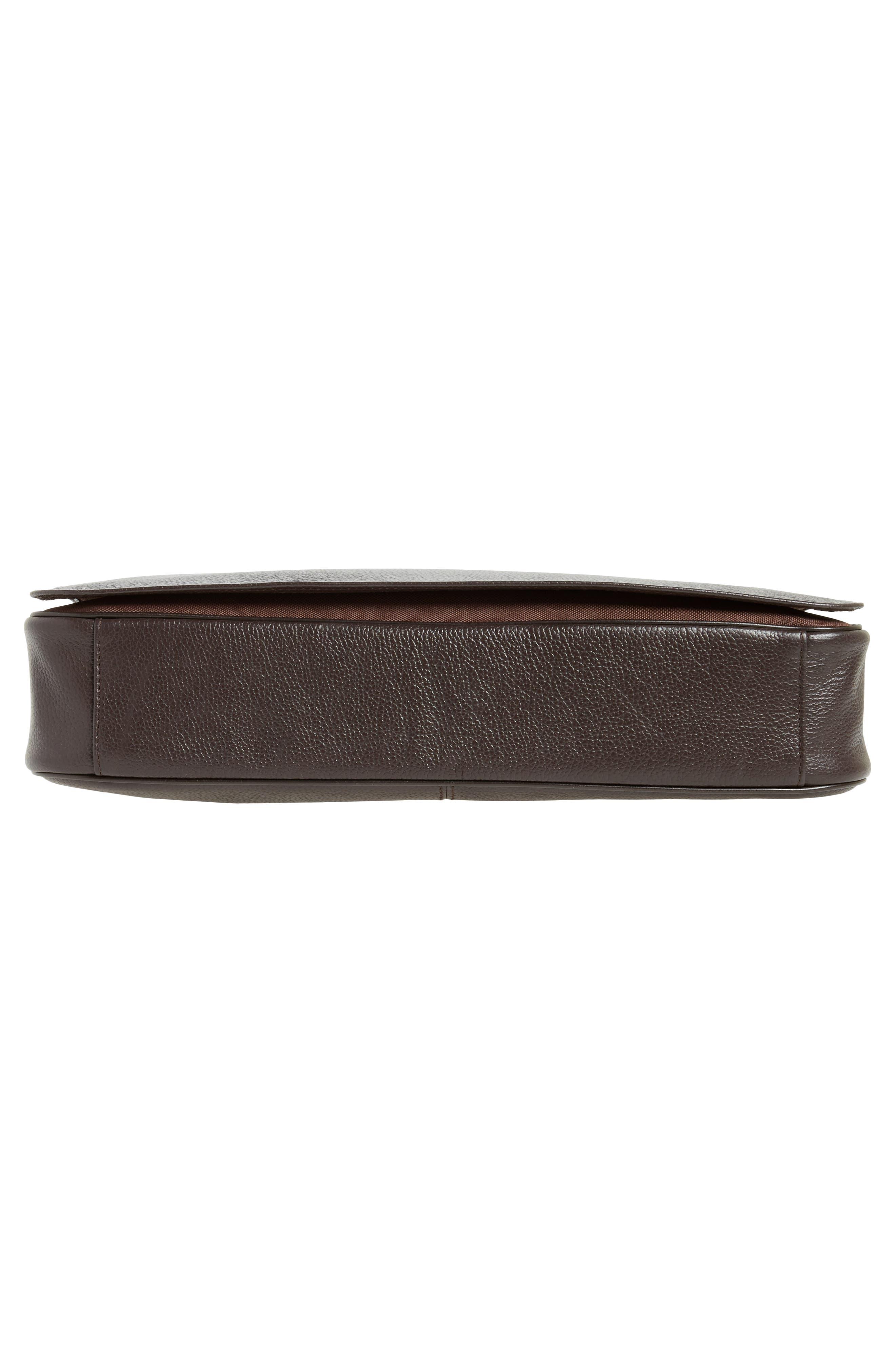 Midland Leather Messenger Bag,                             Alternate thumbnail 6, color,                             Brown