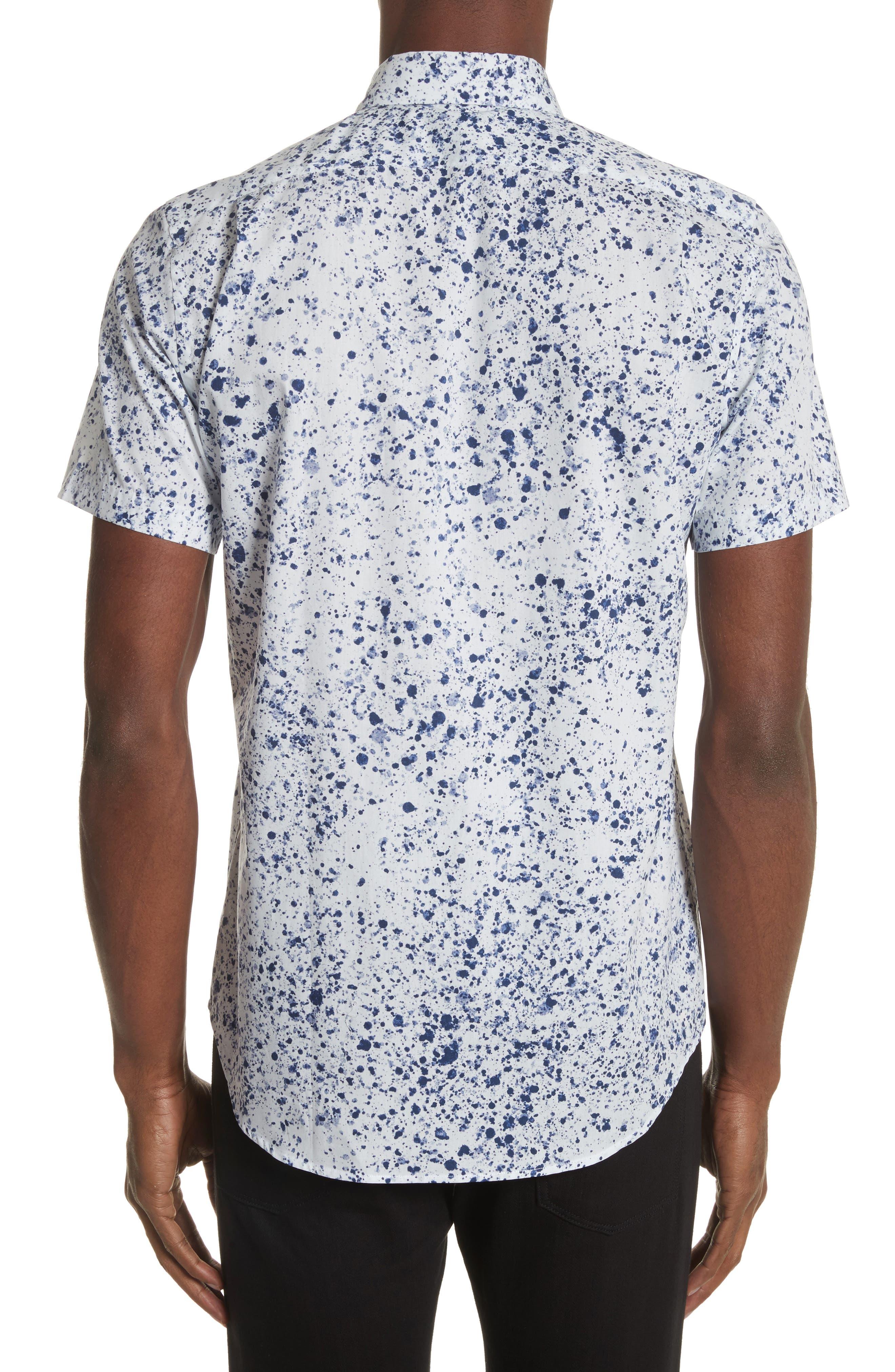 Splatter Print Shirt,                             Alternate thumbnail 3, color,                             White
