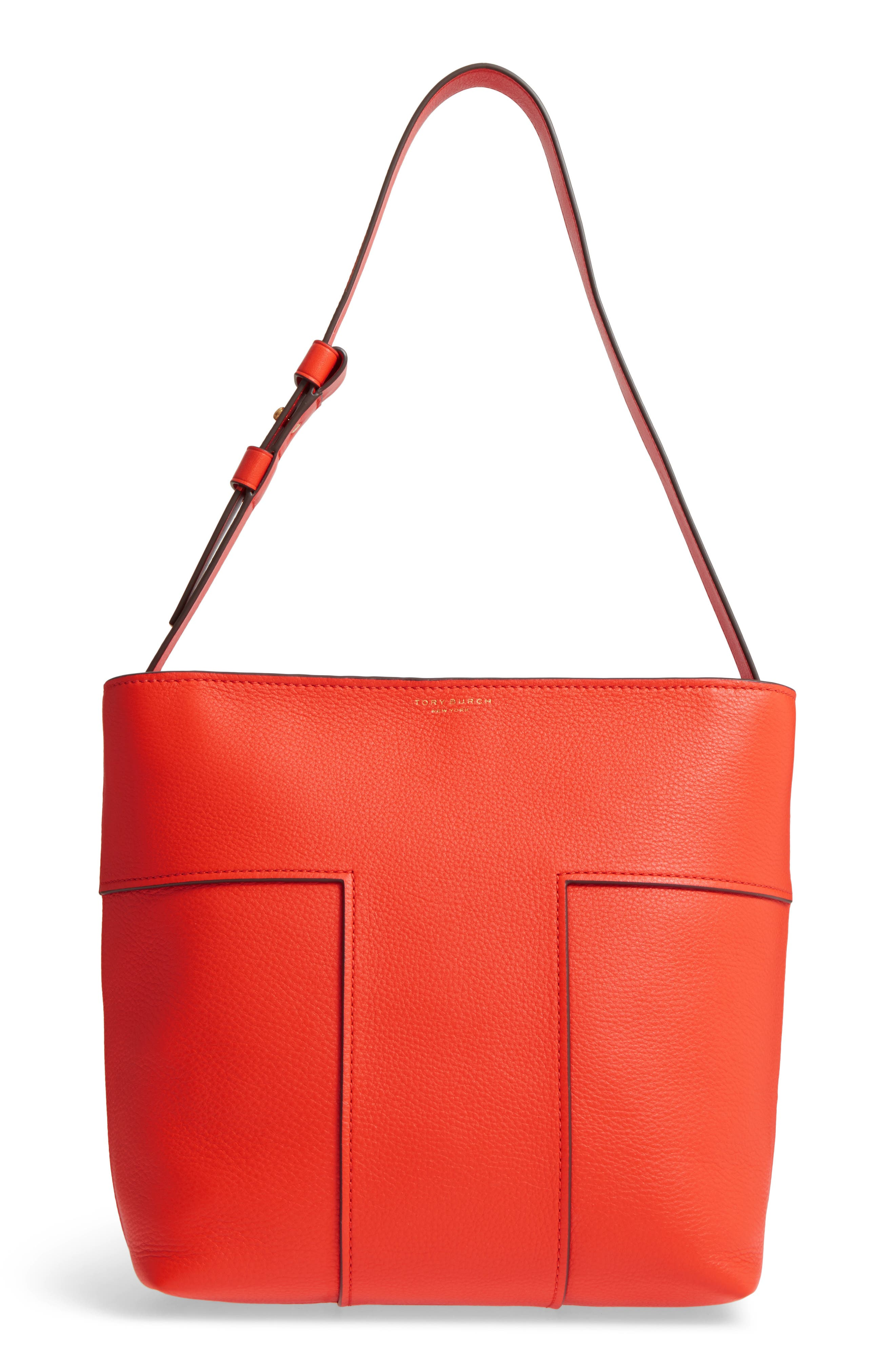 Block-T Pebbled Leather Hobo,                         Main,                         color, Spicy Orange