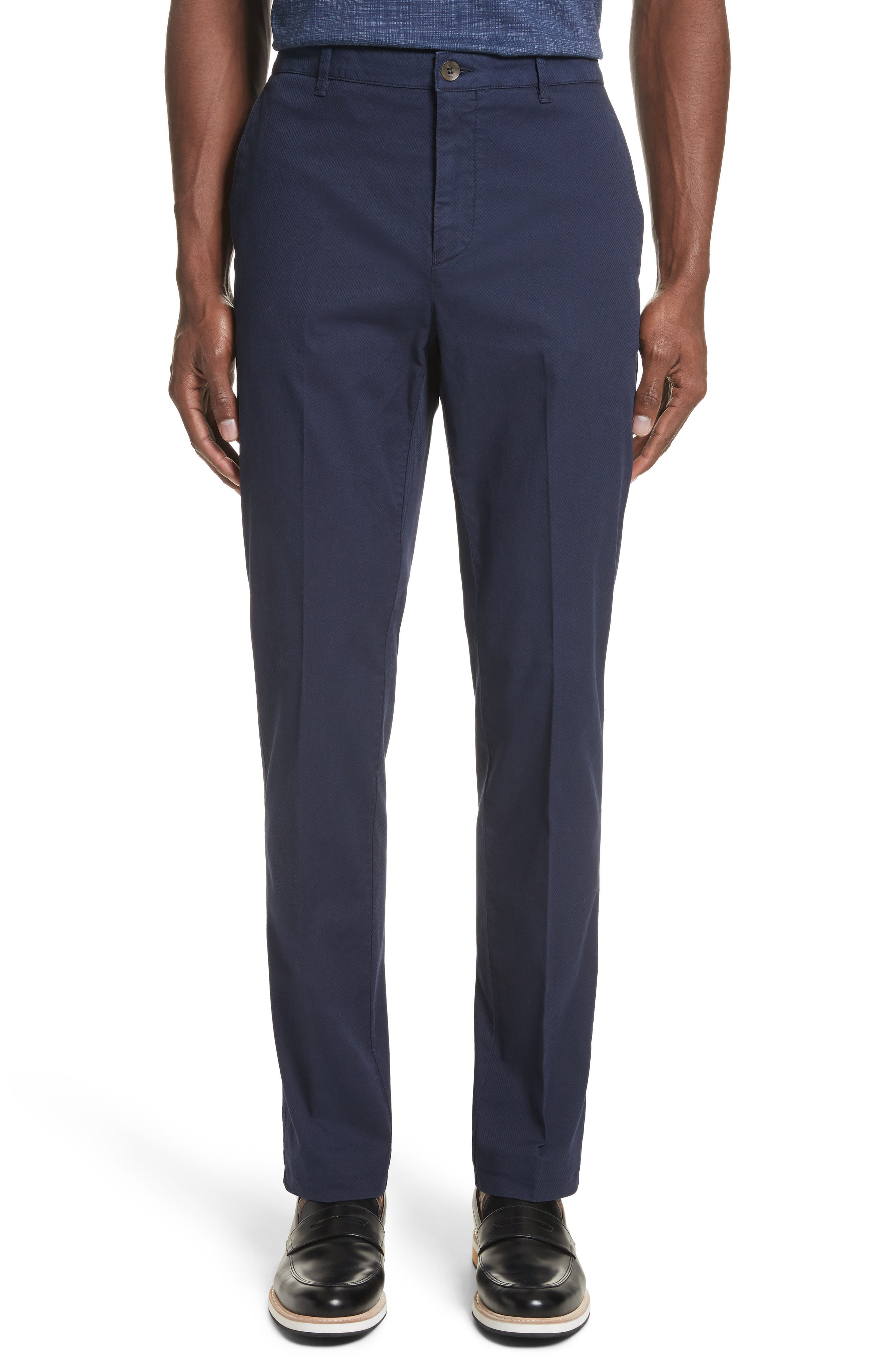 Canali Flat Front Stretch Solid Cotton Trousers