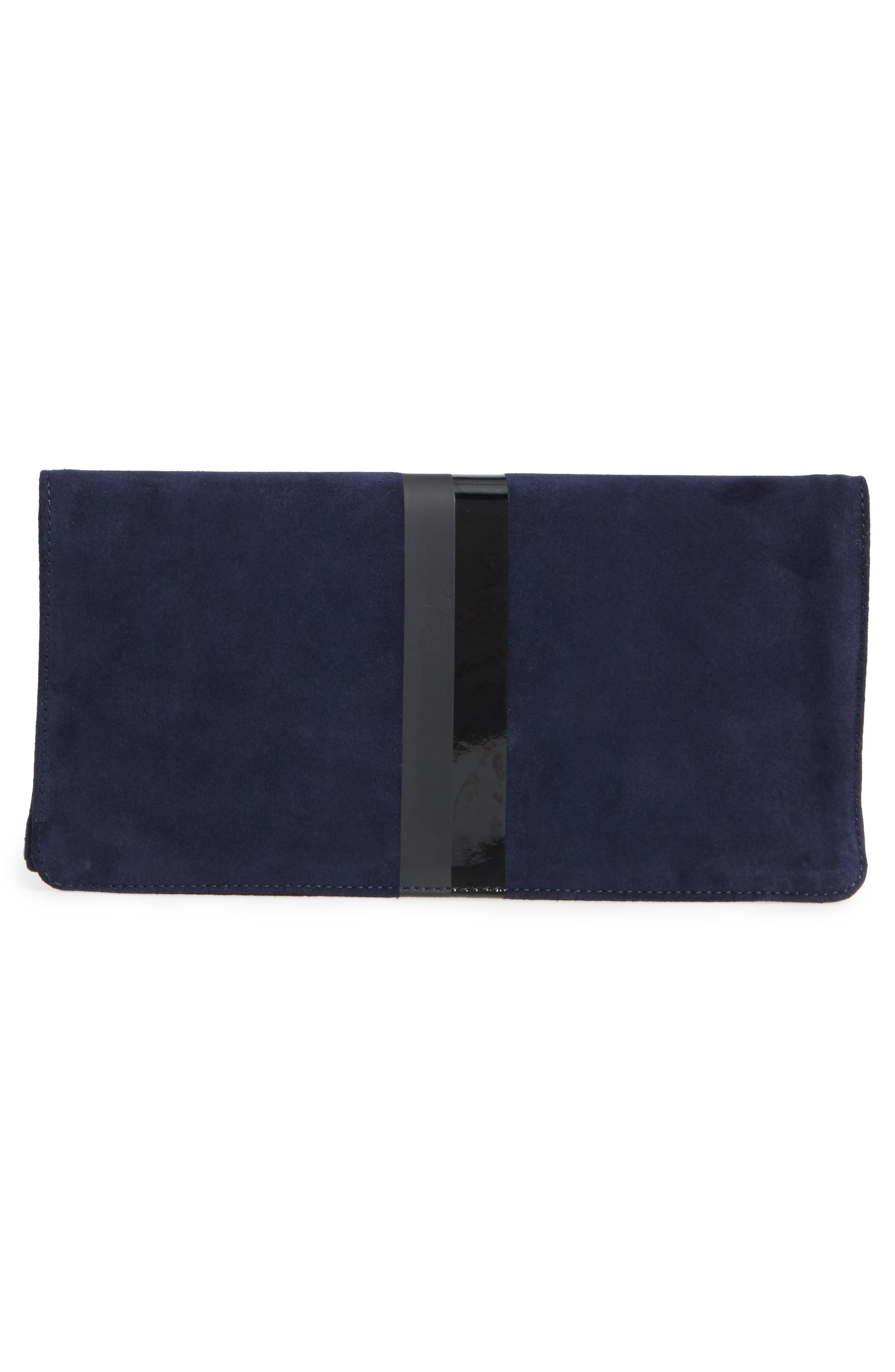 Margot Suede Foldover Clutch,                             Alternate thumbnail 3, color,                             Navy Suede