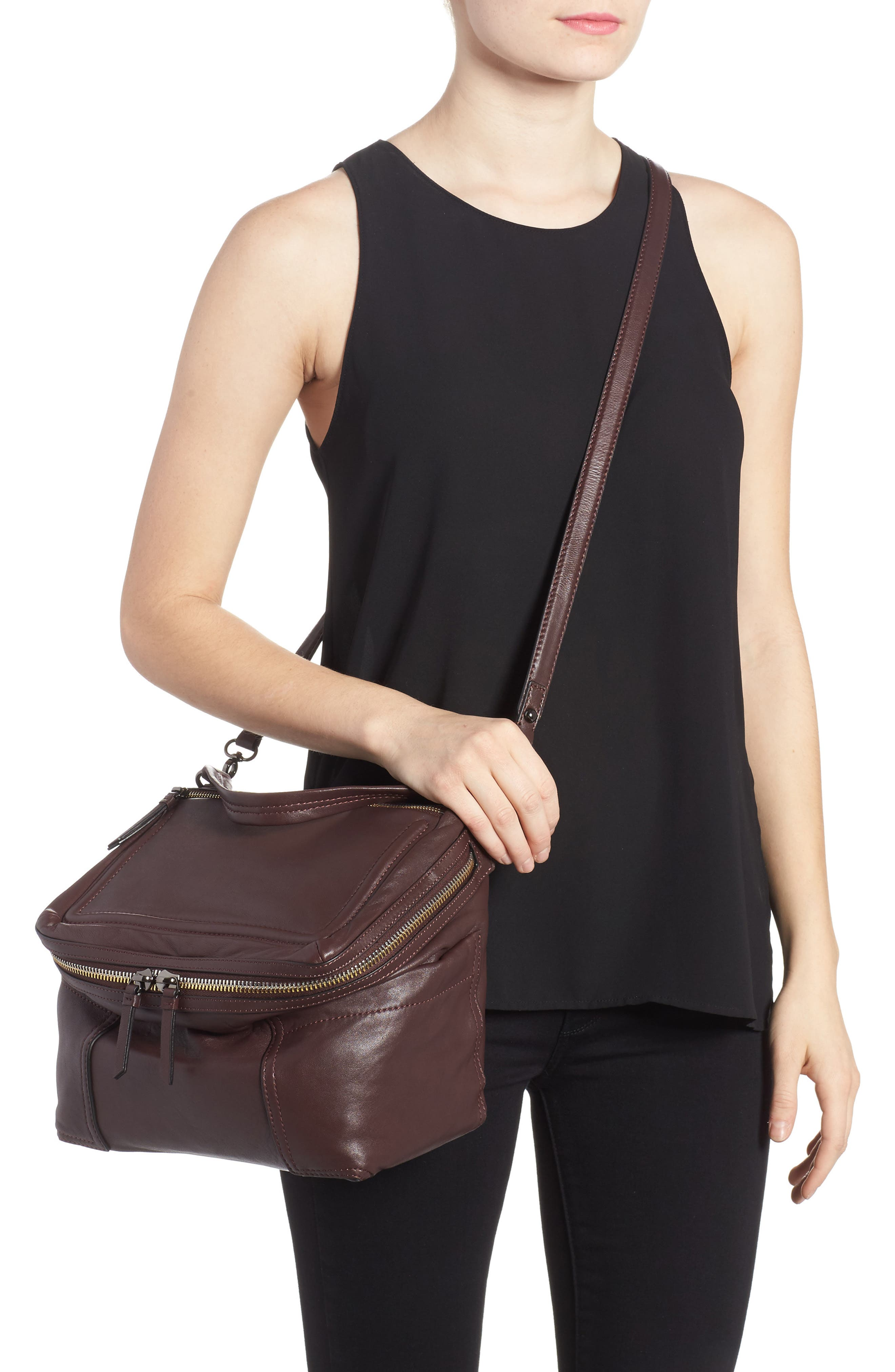 Large Patch Leather Crossbody Bag,                             Alternate thumbnail 2, color,                             Black Cherry