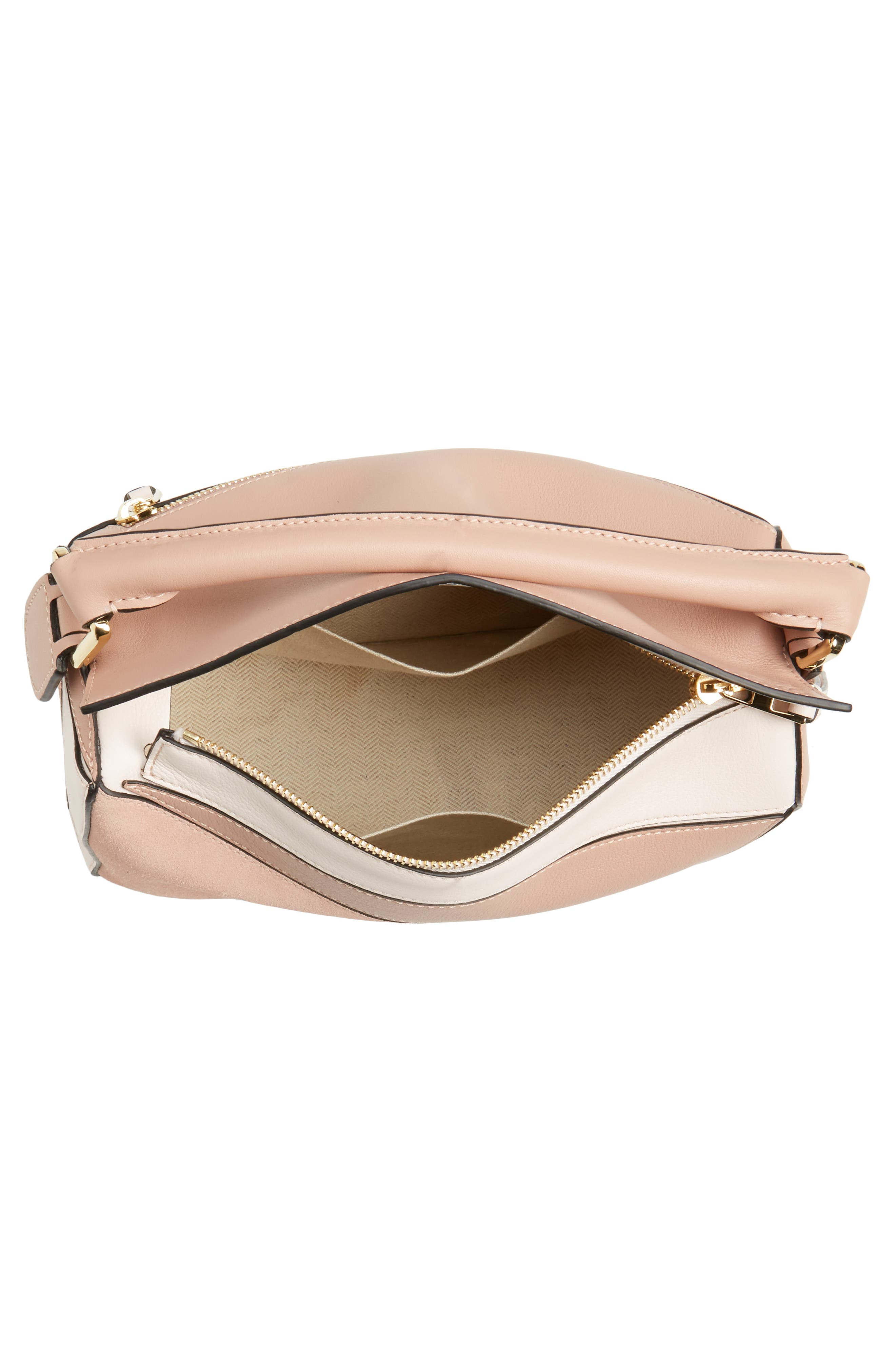 Small Puzzle Bicolor Leather Bag,                             Alternate thumbnail 4, color,                             Blush Multitone