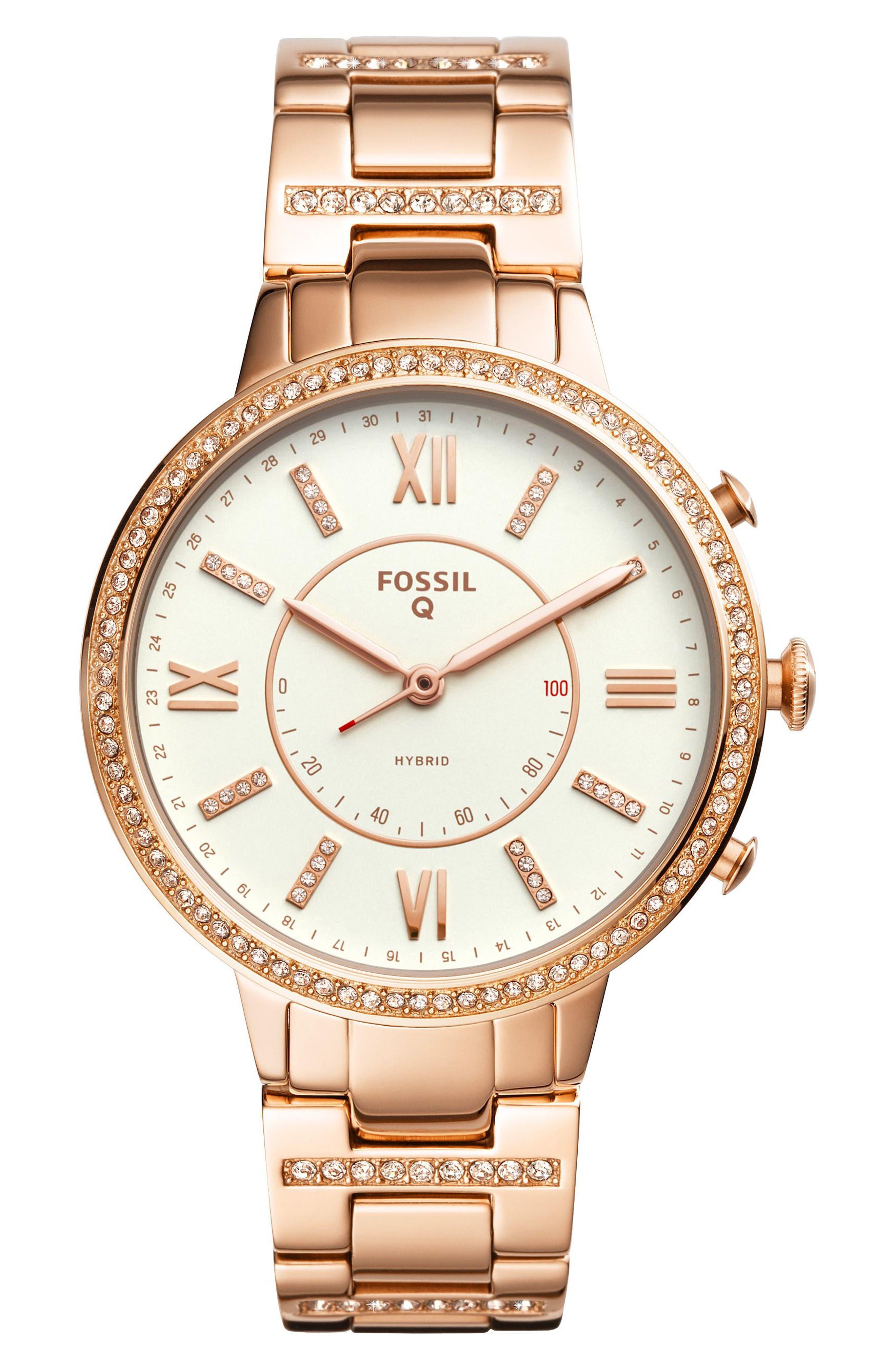 Virginia Crystal Accent Hybrid Bracelet Smart Watch, 36mm,                         Main,                         color, Rose Gold/ White/ Rose Gold