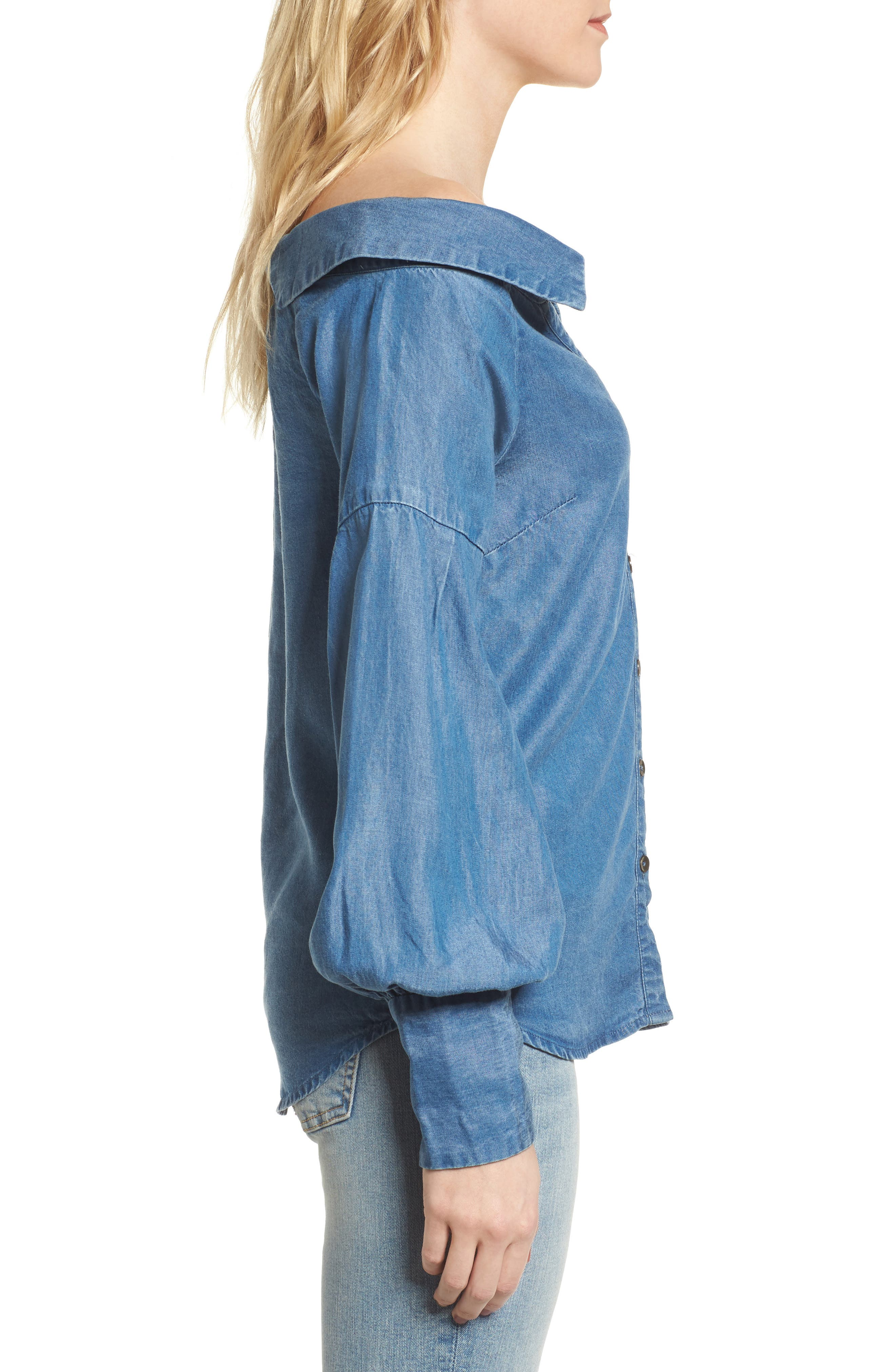 Off the Shoulder Chambray Top,                             Alternate thumbnail 3, color,                             Med Wash