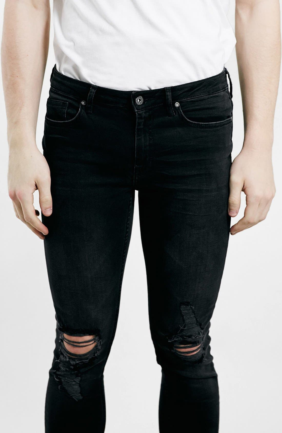 Alternate Image 4  - Topman Ripped Spray On Skinny Jeans (Black)
