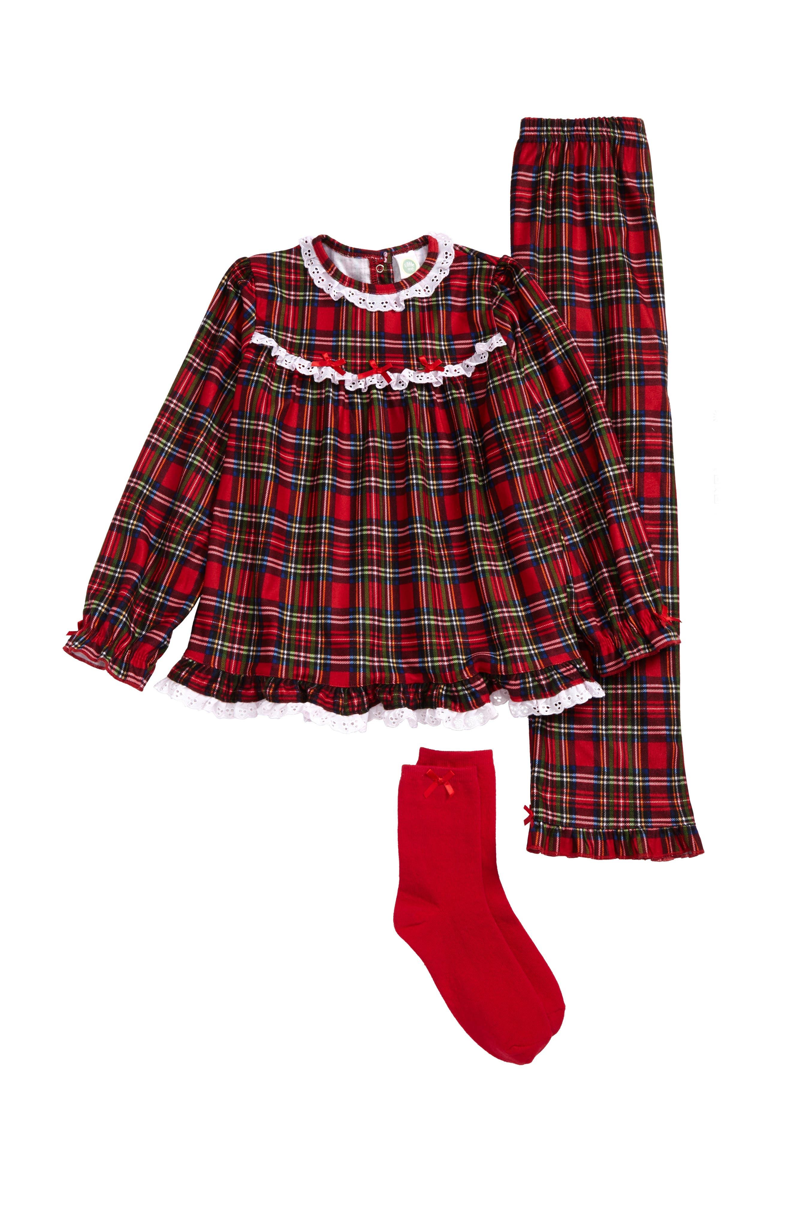 Little Me Plaid Two-Piece Pajamas & Socks Set (Toddler Girls & Little Girls)