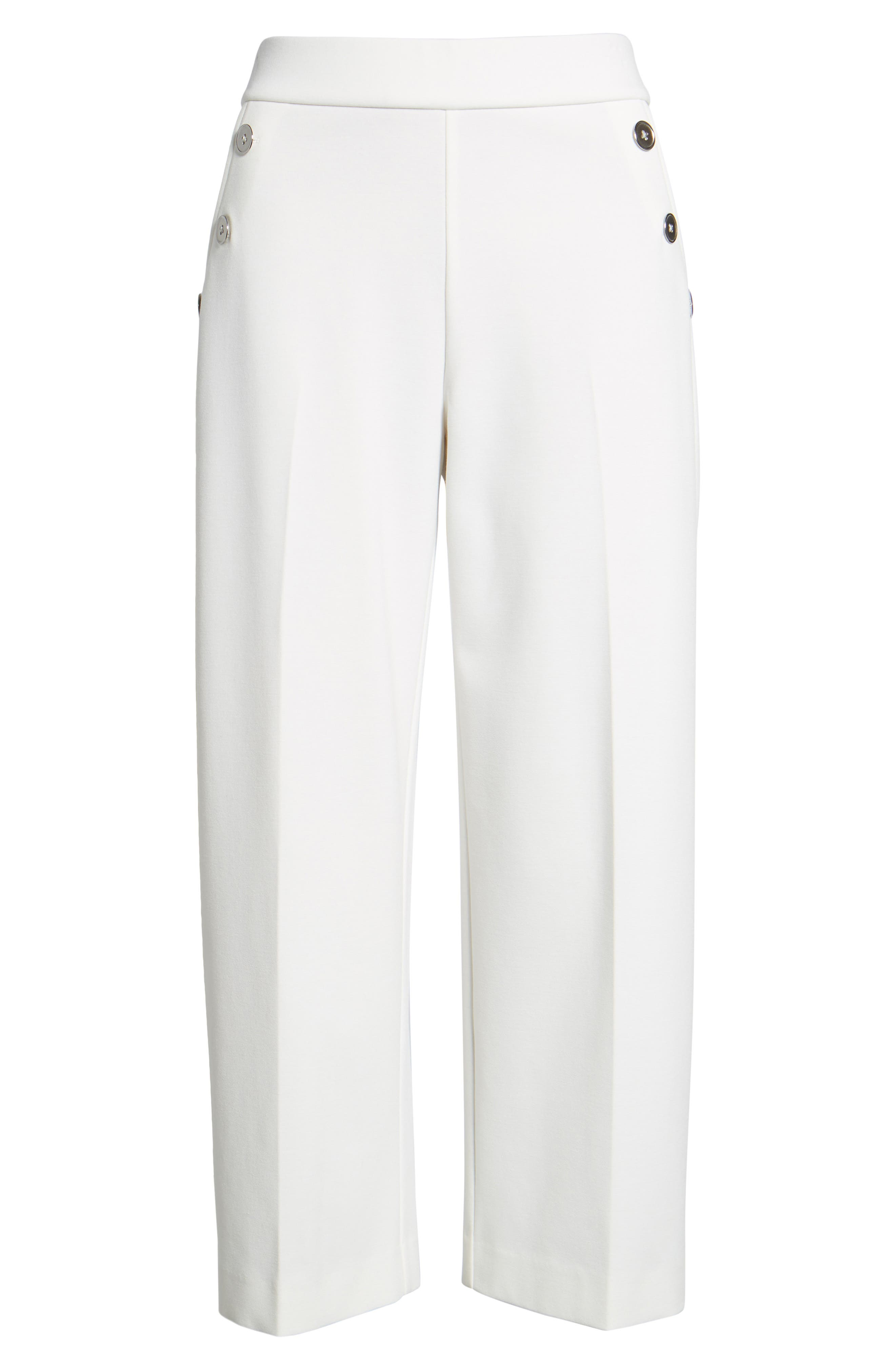 Crop Ponte Knit Sailor Pants,                             Alternate thumbnail 6, color,                             New Ivory