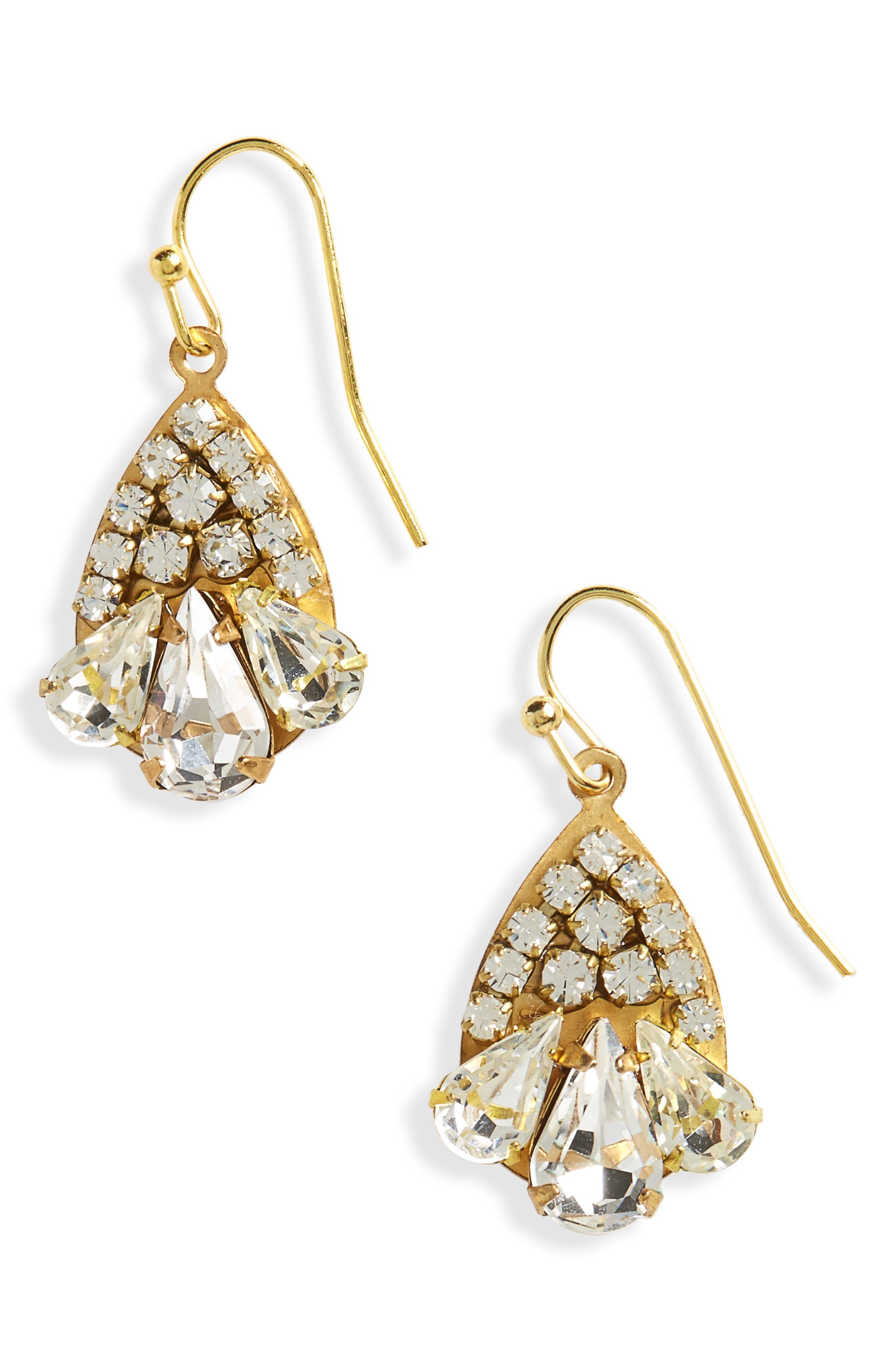 Scalloped Crystal Earrings,                             Main thumbnail 1, color,                             Crystal/ Gold