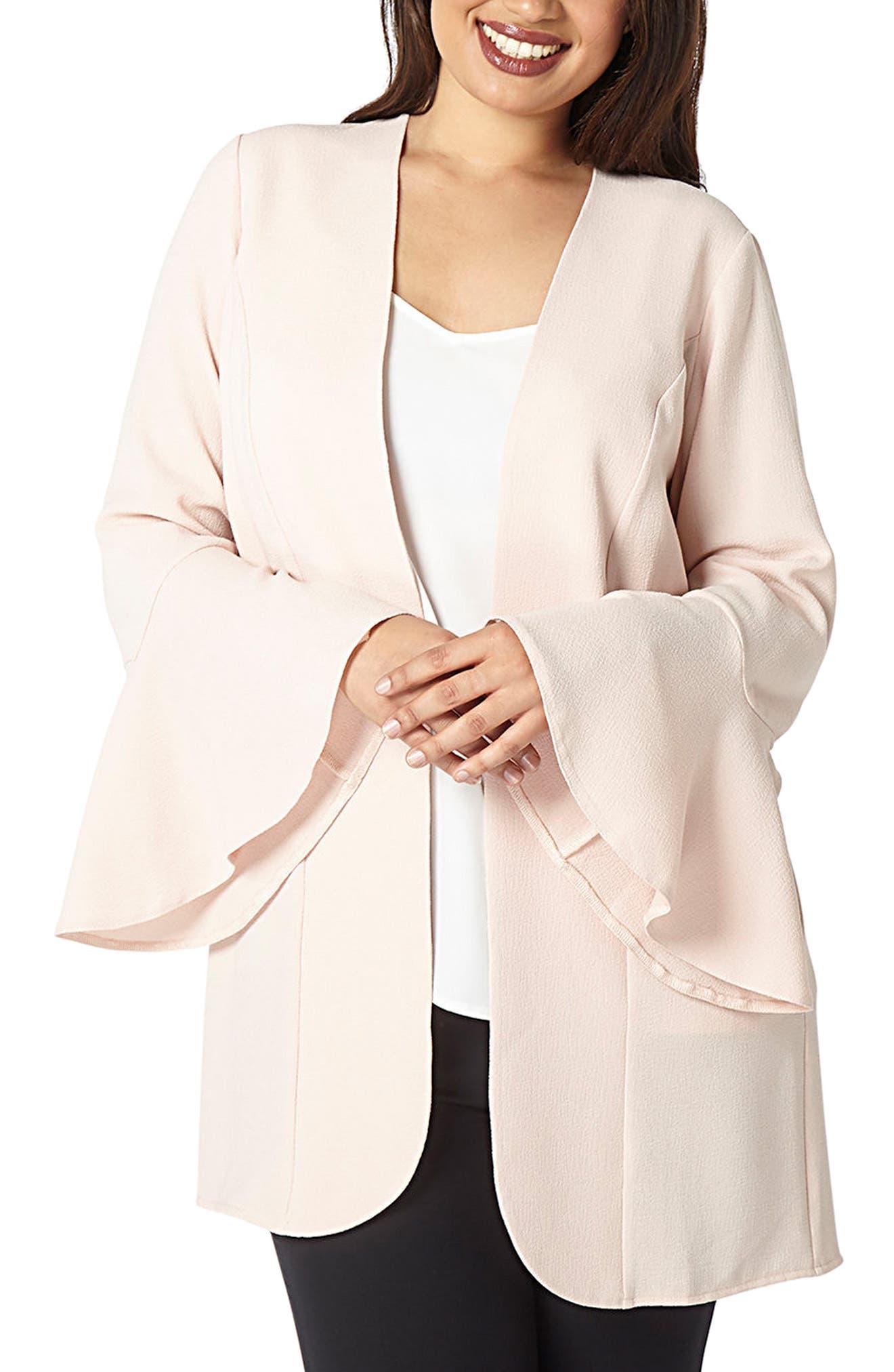 Flute Sleeve Longline Jacket,                         Main,                         color, Blush
