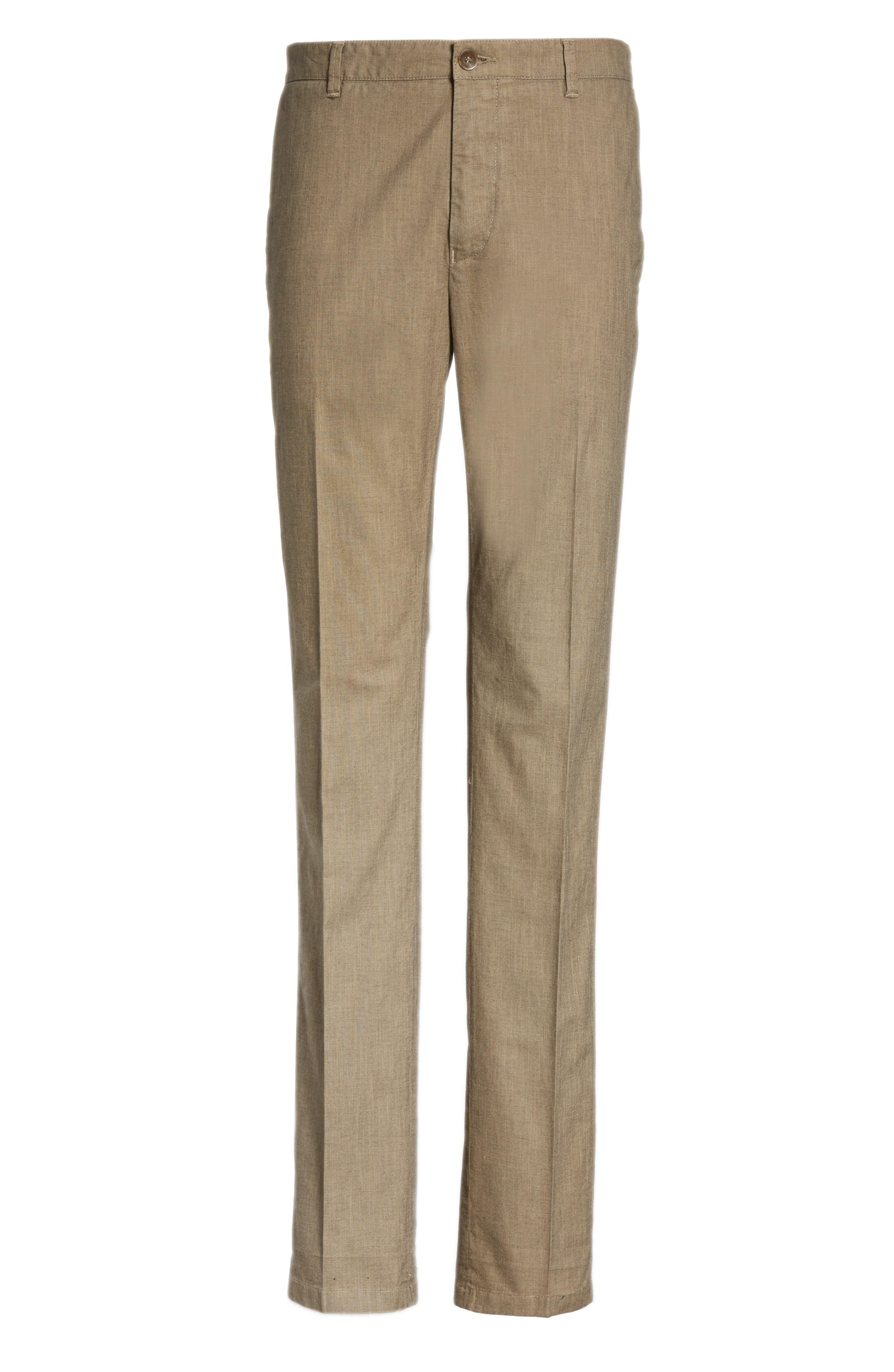 French Pocket Stretch Straight Leg Pants,                             Alternate thumbnail 6, color,                             Dark Beige