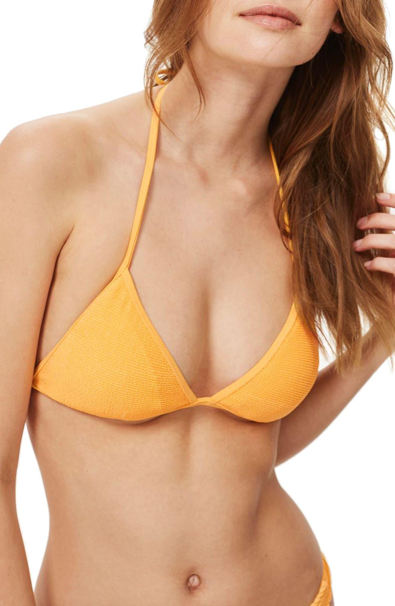 Shirred Triangle Bikini Top,                         Main,                         color, Orange