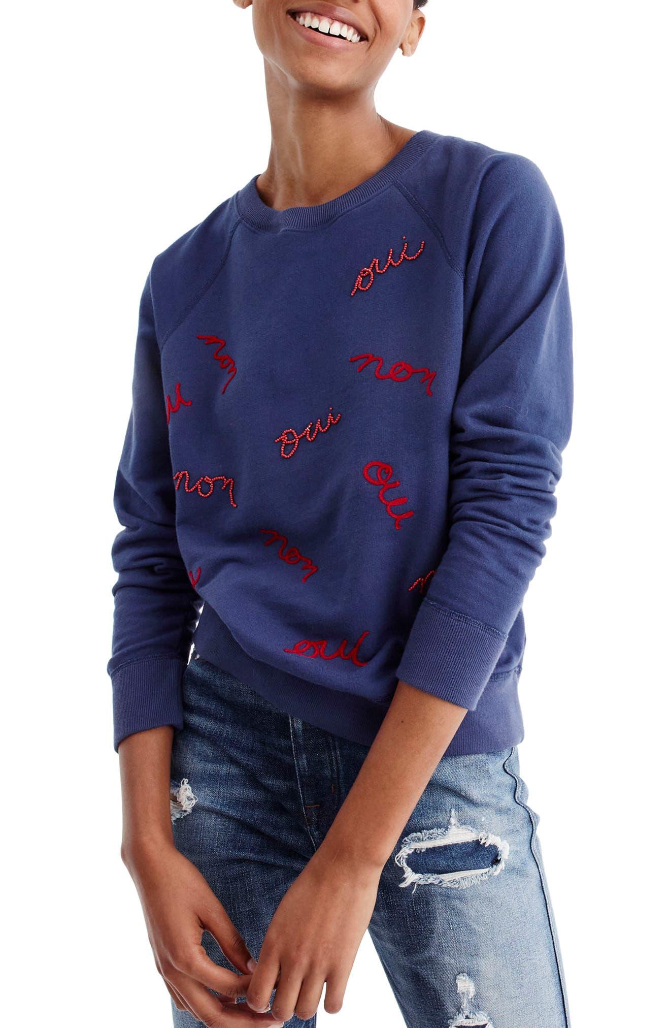 Main Image - J.Crew Oui Non Embellished Sweatshirt