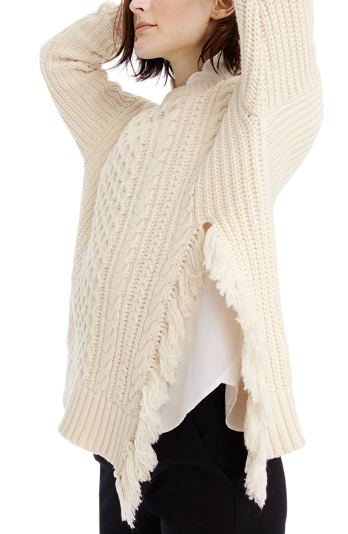 J.Crew Fringe Detail Cable Knit Sweater,                             Alternate thumbnail 3, color,                             Ivory