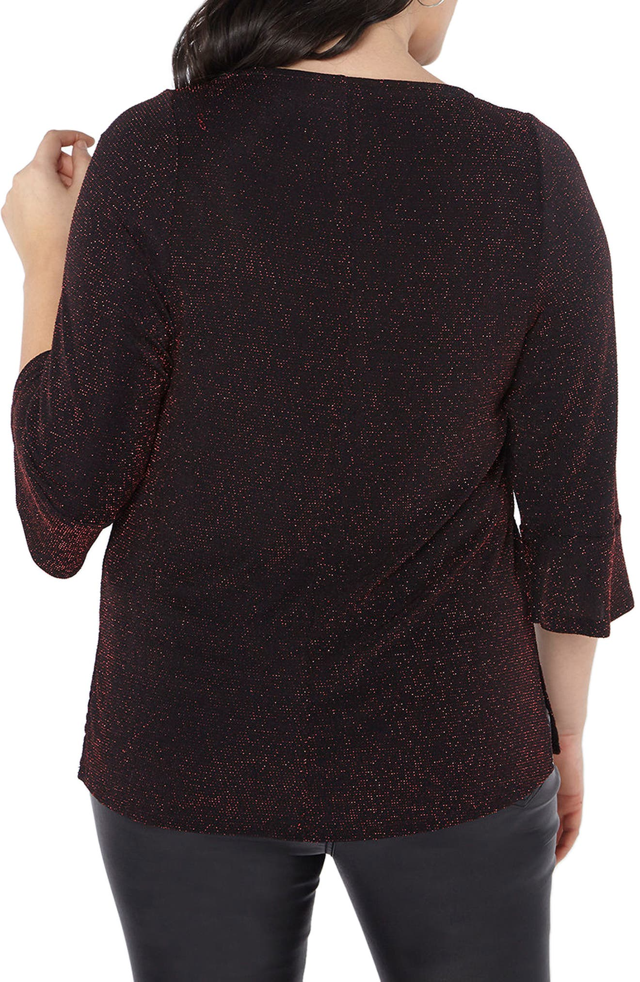 Glitter Bell Sleeve Top,                             Alternate thumbnail 2, color,                             Red