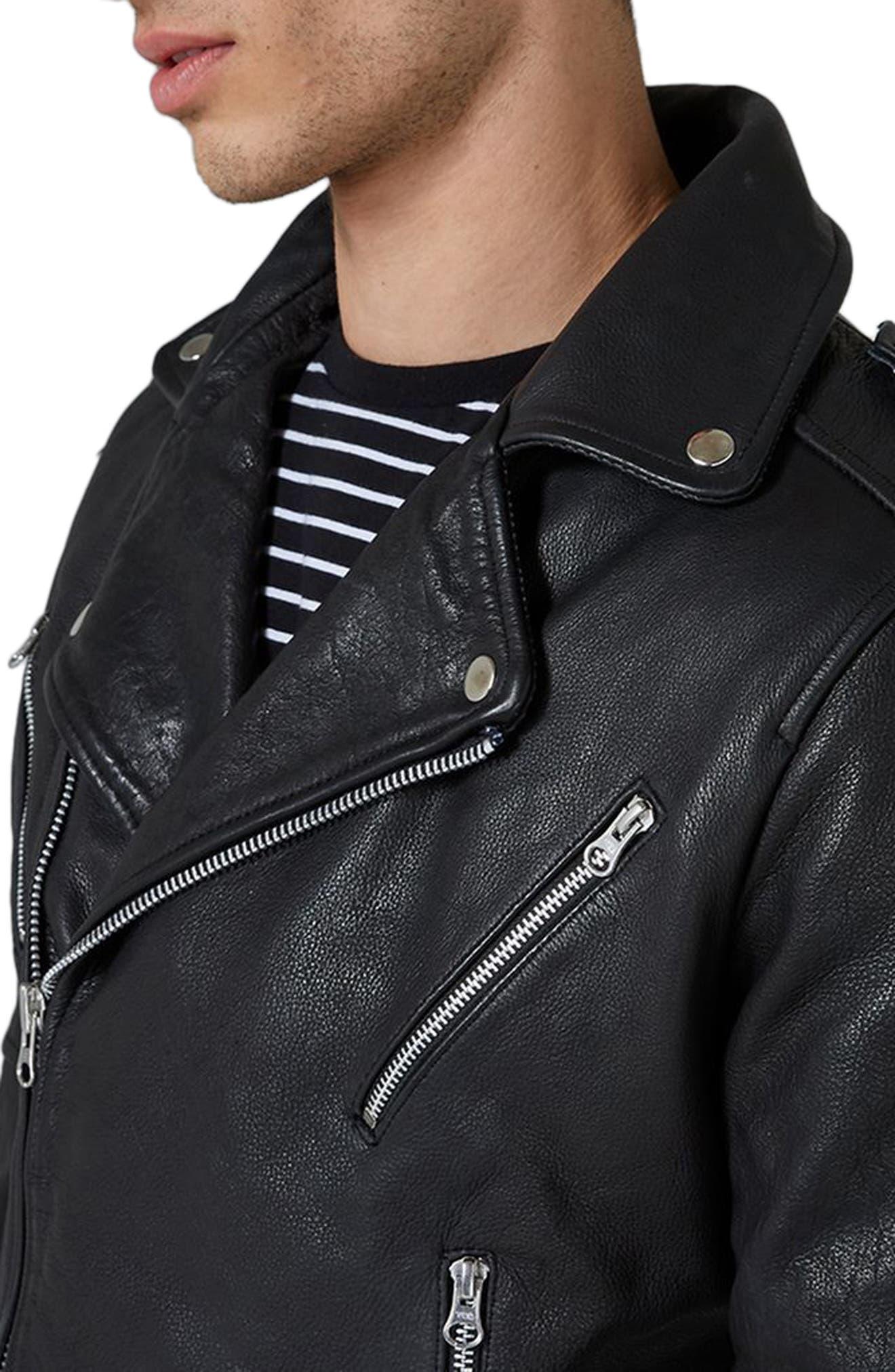 Print Leather Biker Jacket,                             Alternate thumbnail 3, color,                             Black Multi