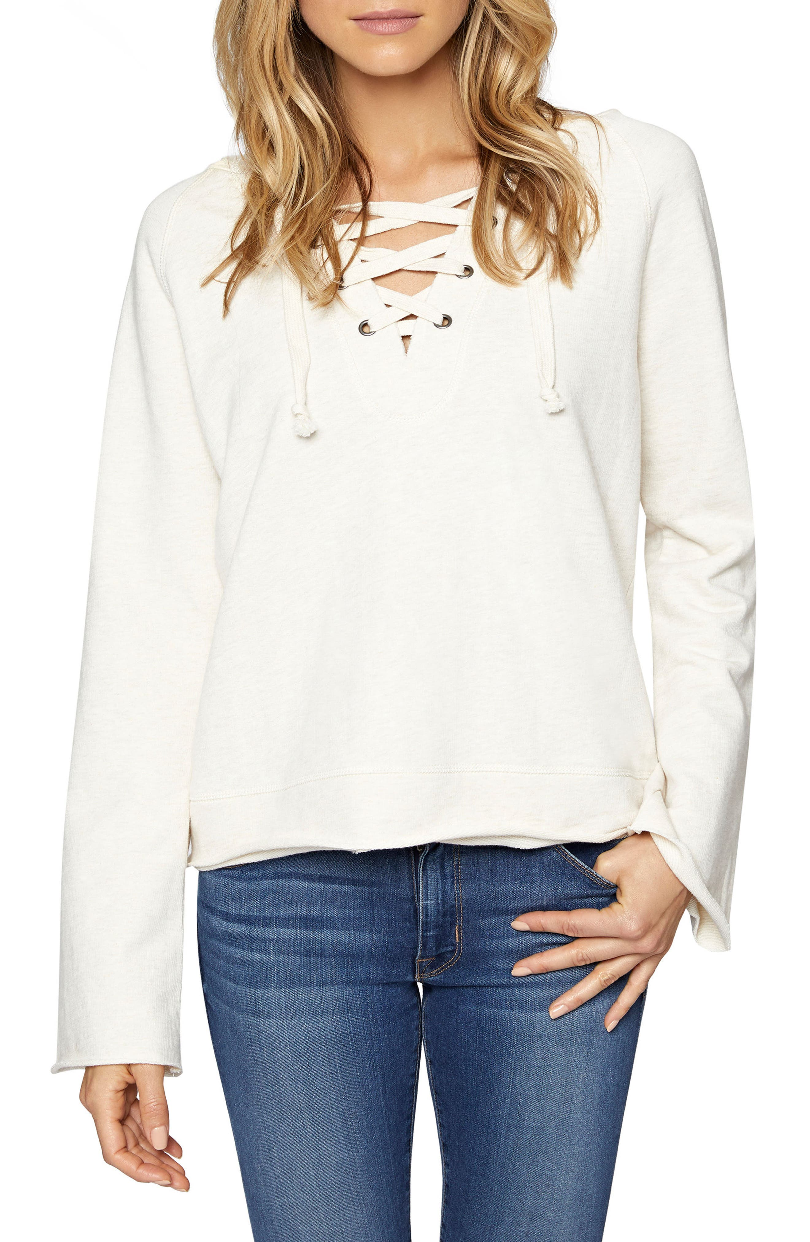 Bailey Lace-Up Hoodie,                         Main,                         color, Heather Milk