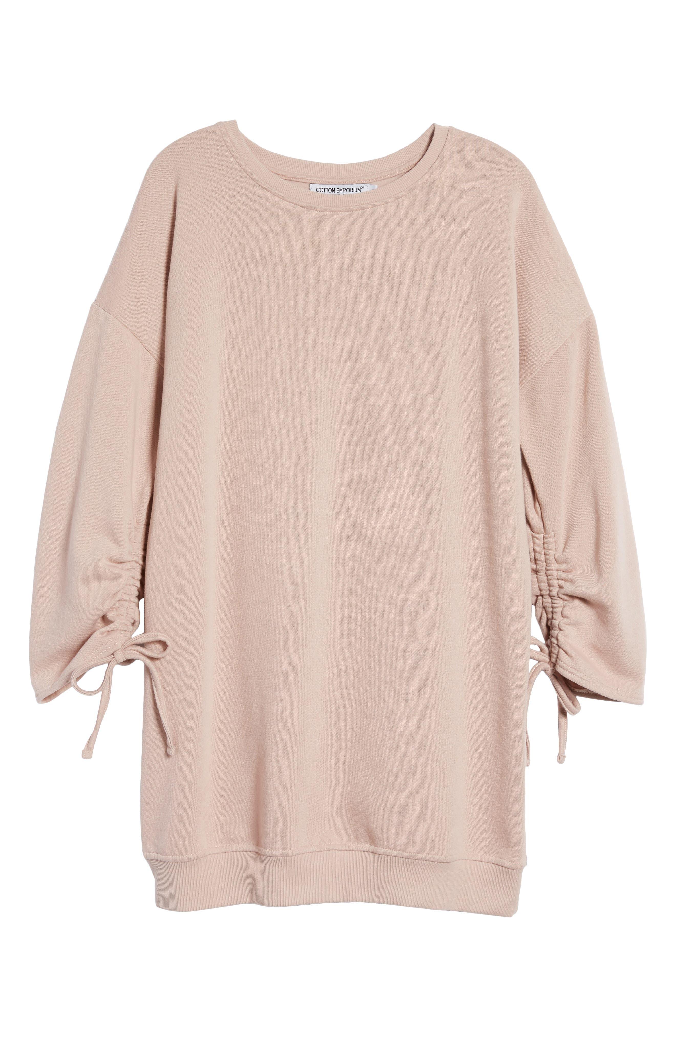 Alternate Image 6  - Cotton Emporium Ruched Sleeve Sweatshirt Dress