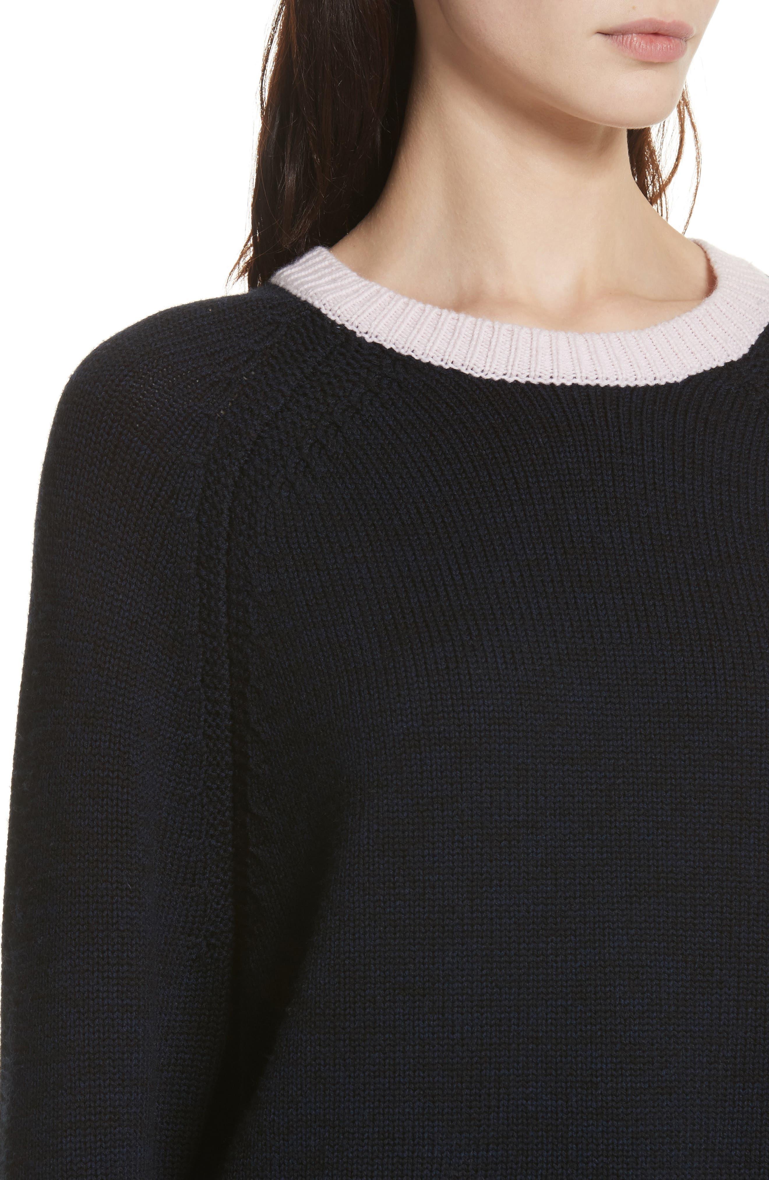 Hattie Crewneck Merino Wool Sweater,                             Alternate thumbnail 4, color,                             Navy