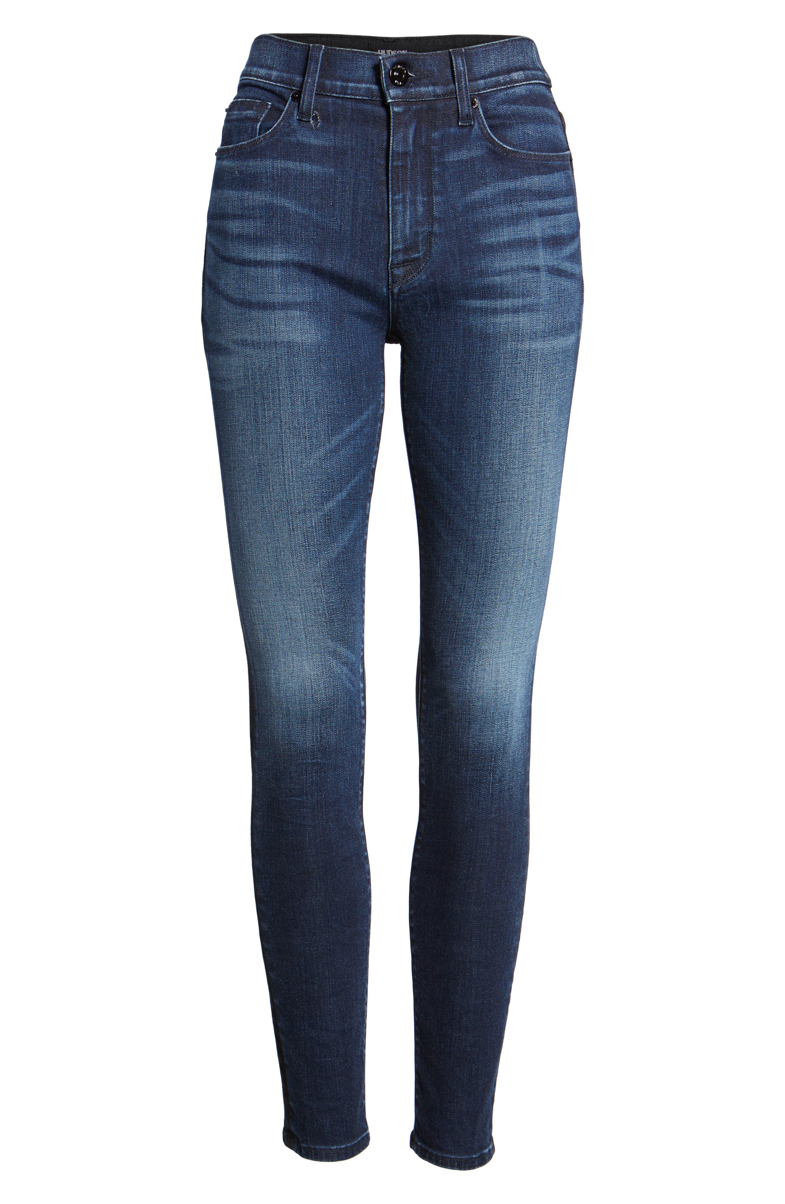 Barbara High Waist Ankle Skinny Jeans,                             Alternate thumbnail 4, color,                             Dare