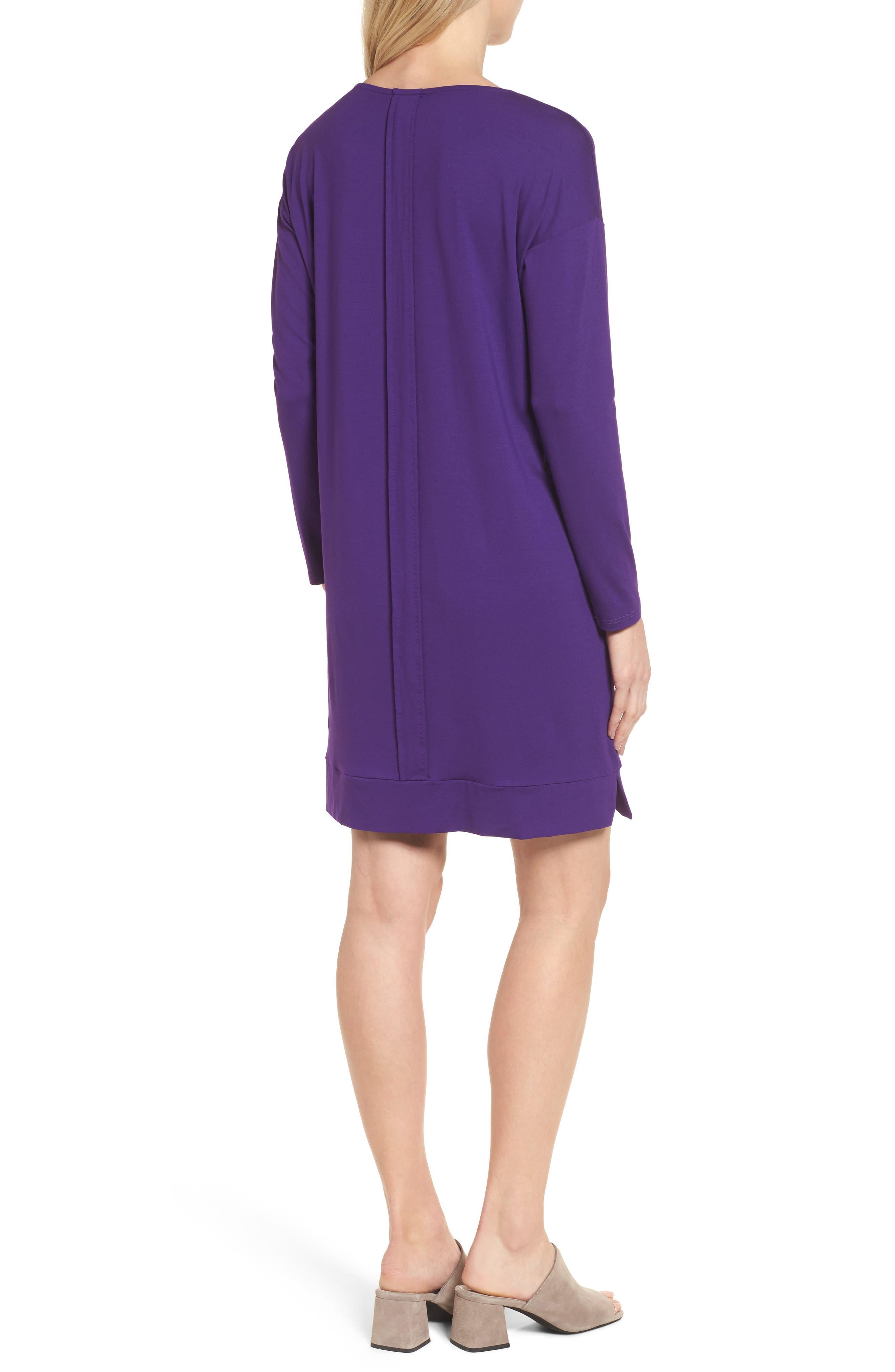 Alternate Image 2  - Eileen Fisher Long Sleeve Jersey Shift Dress (Regular & Petite)