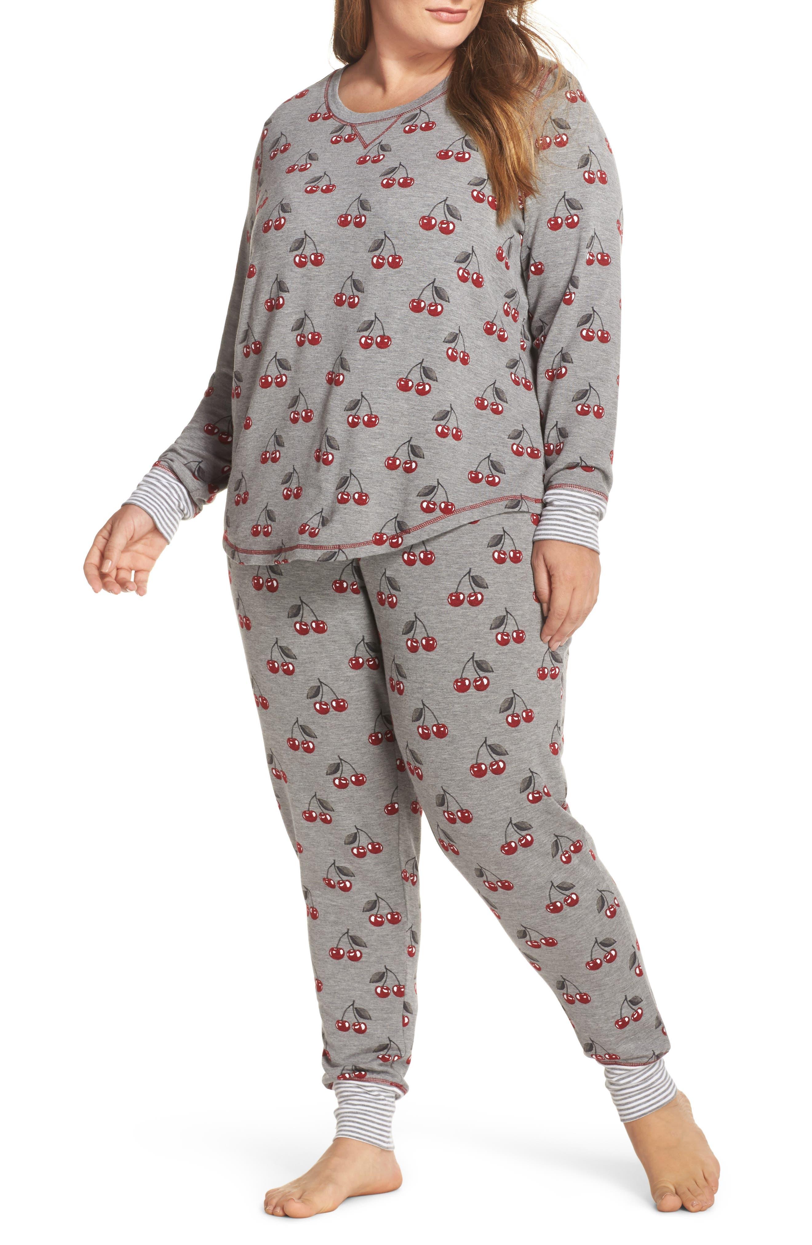 Cherry Pajama Pants,                             Alternate thumbnail 5, color,                             Heather Grey