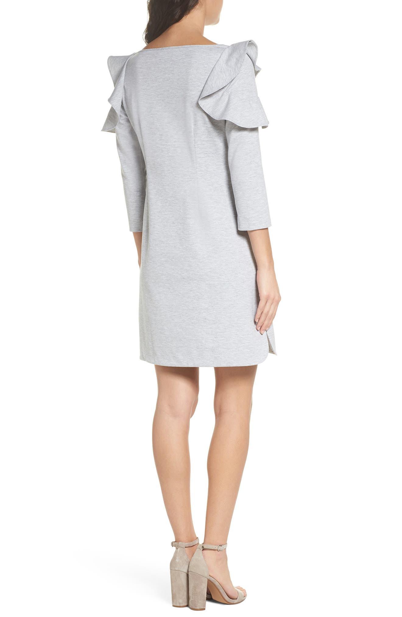 Ruffle Shoulder Sweatshirt Dress,                             Alternate thumbnail 2, color,                             Heather Grey