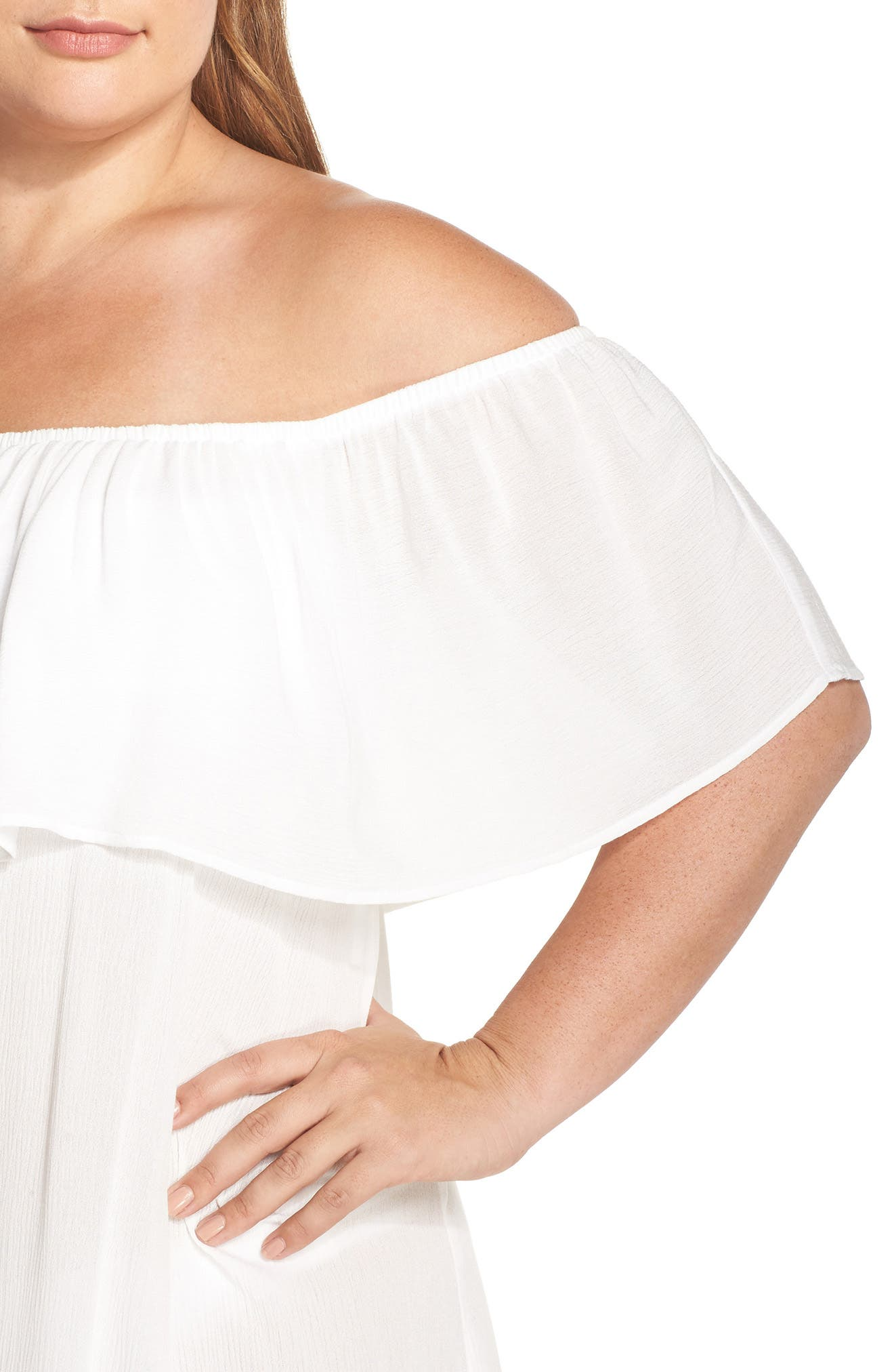 Alternate Image 4  - Becca Etc. Southern Belle Off the Shoulder Cover-Up Dress (Plus Size)