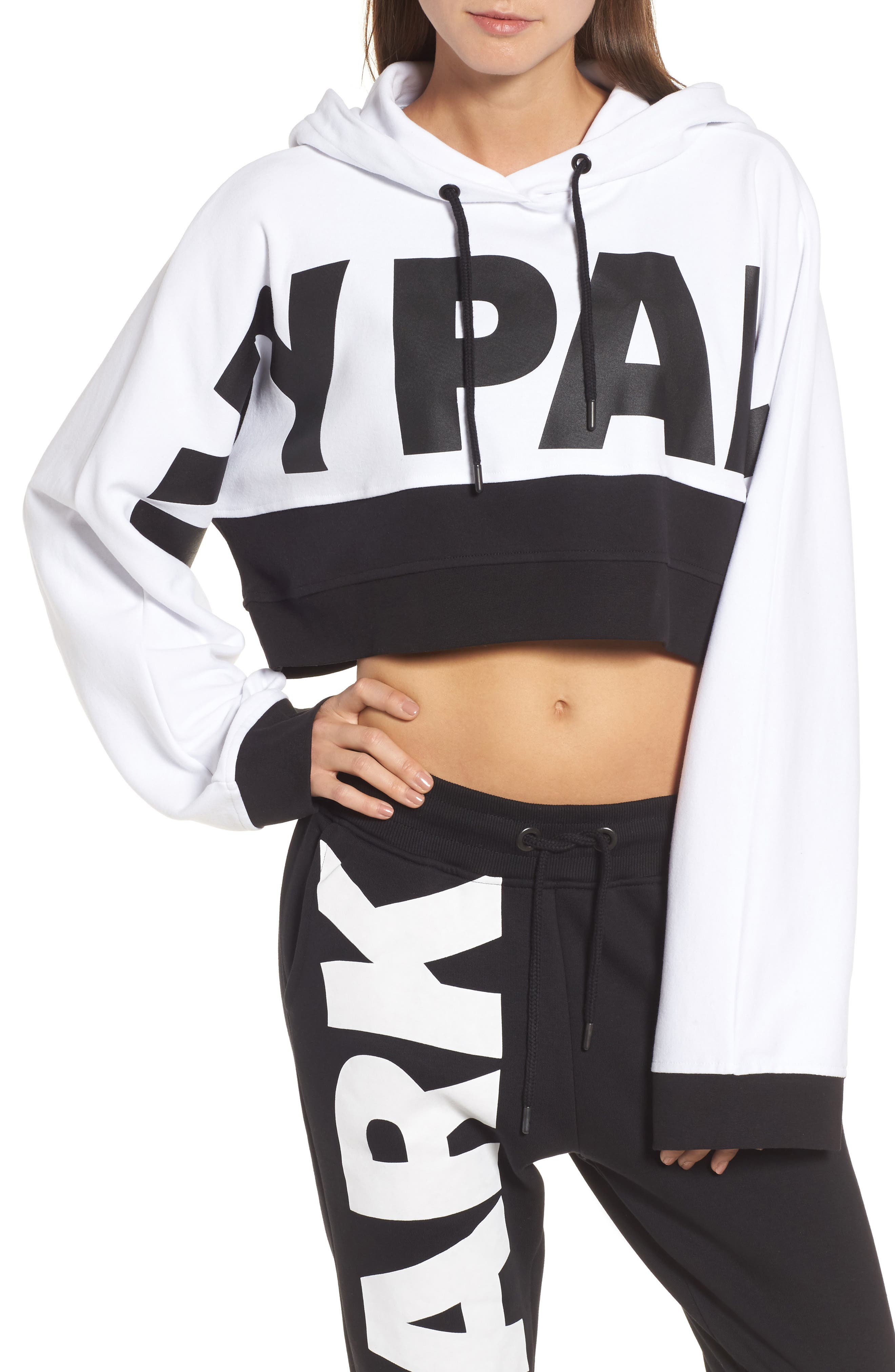 Crop Hoodie,                             Main thumbnail 1, color,                             White