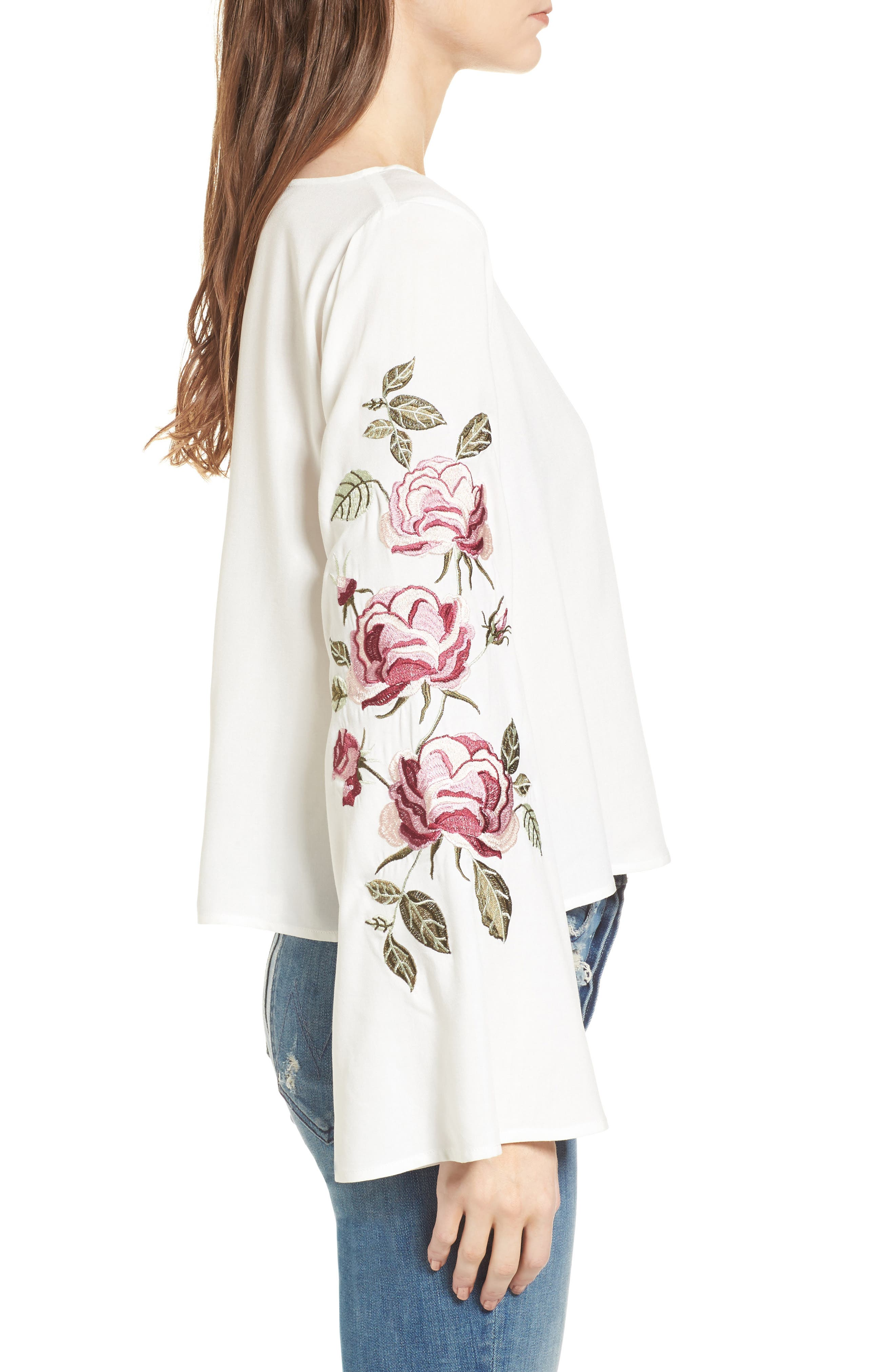 Aldona Embroidered Bell Sleeve Top,                             Alternate thumbnail 3, color,                             Ivory
