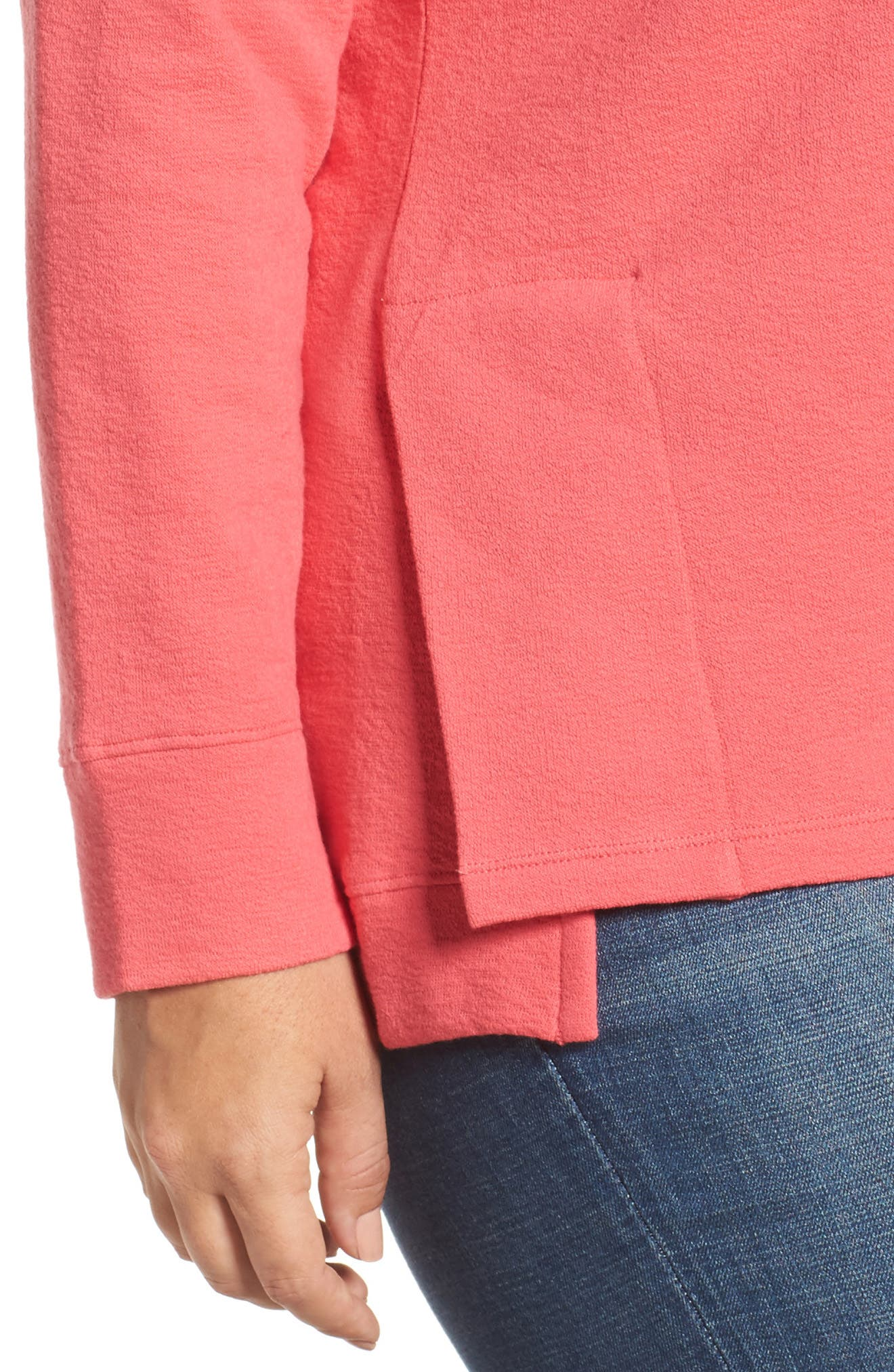 Side Slit Sweatshirt,                             Alternate thumbnail 4, color,                             Pink Ribbon