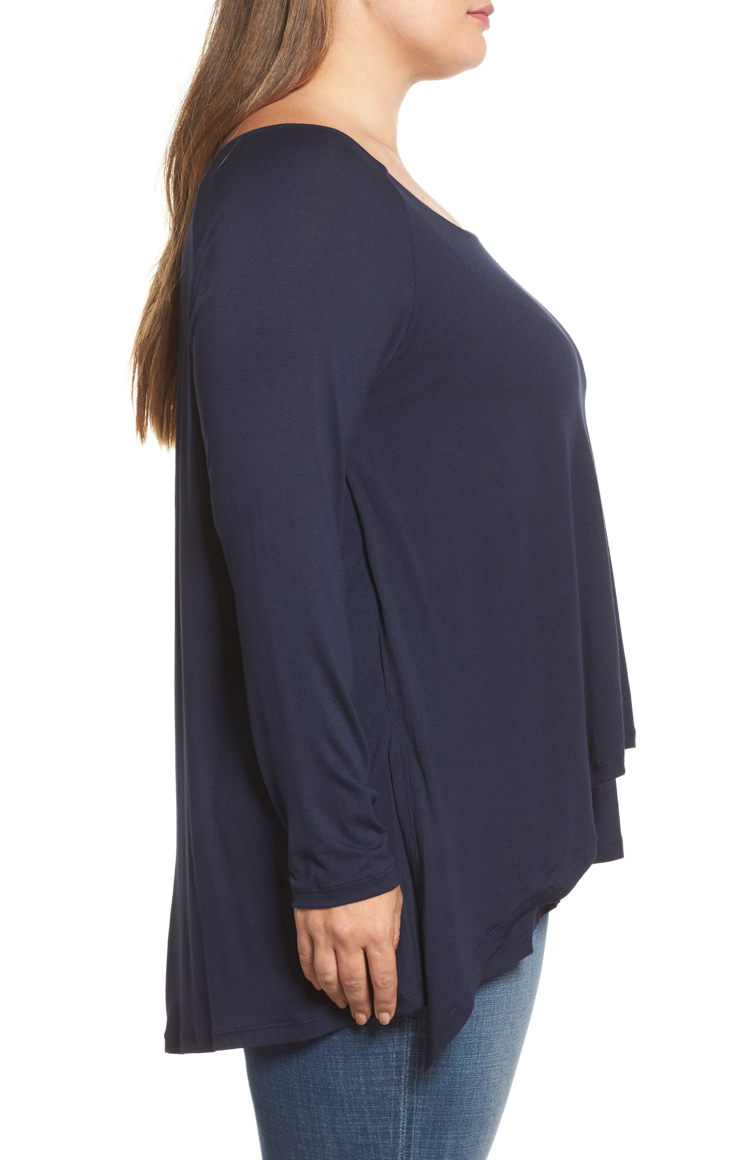 Layered Knit Top,                             Alternate thumbnail 3, color,                             Navy