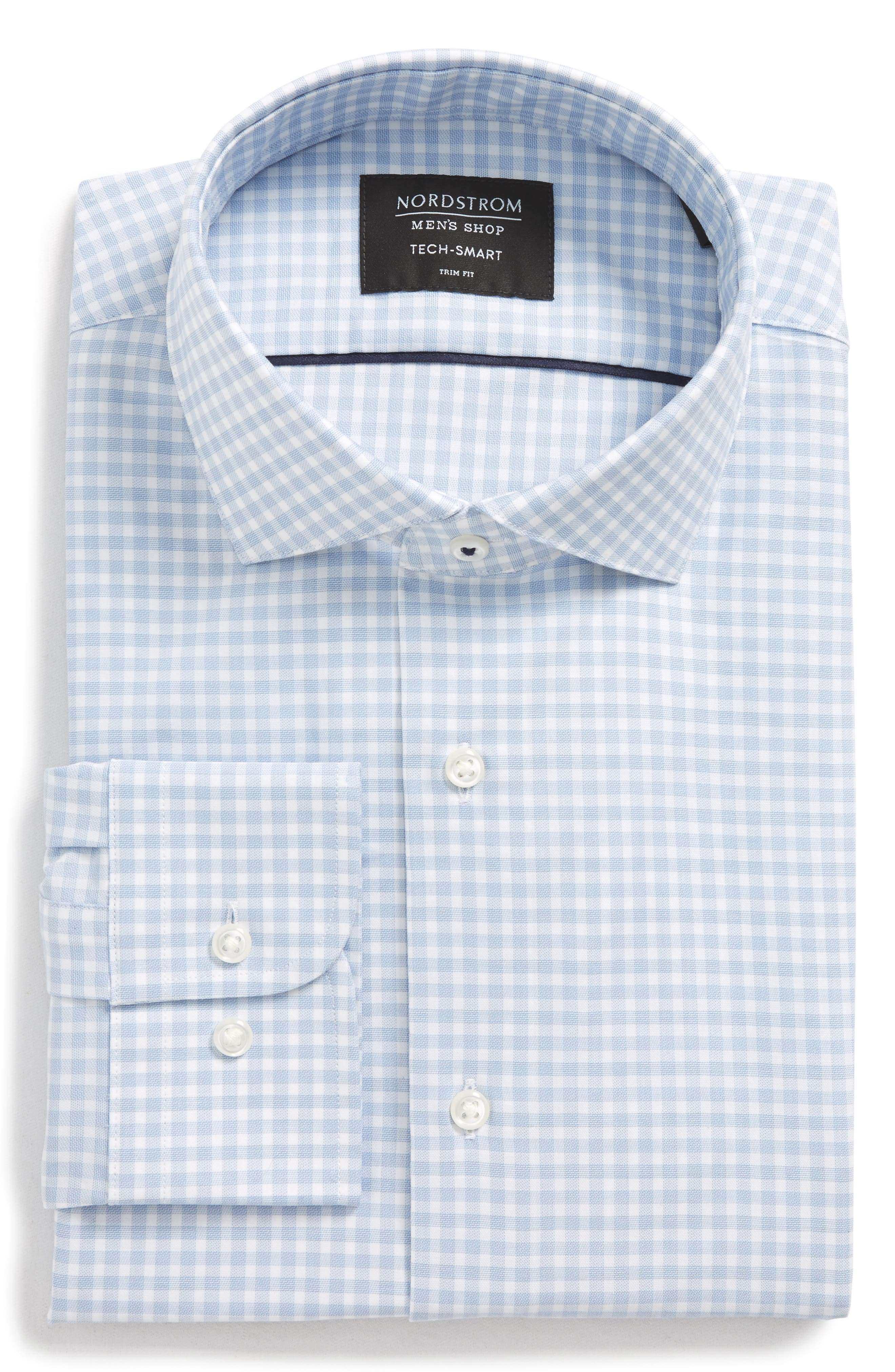 Tech-Smart Trim Fit Stretch Check Dress Shirt,                             Alternate thumbnail 5, color,                             Blue Brunerra