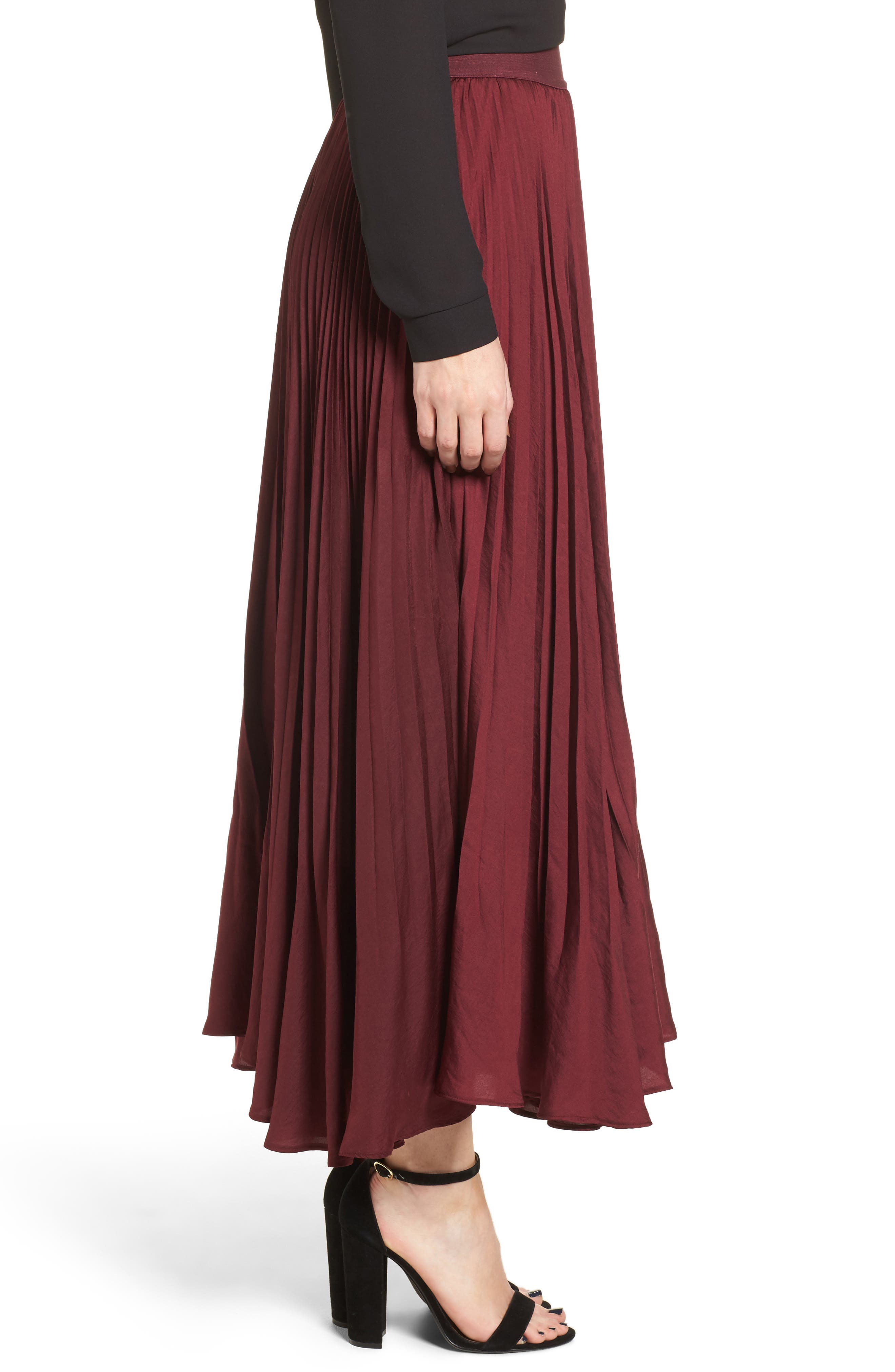 Pleated Midi Skirt,                             Alternate thumbnail 3, color,                             Burgundy