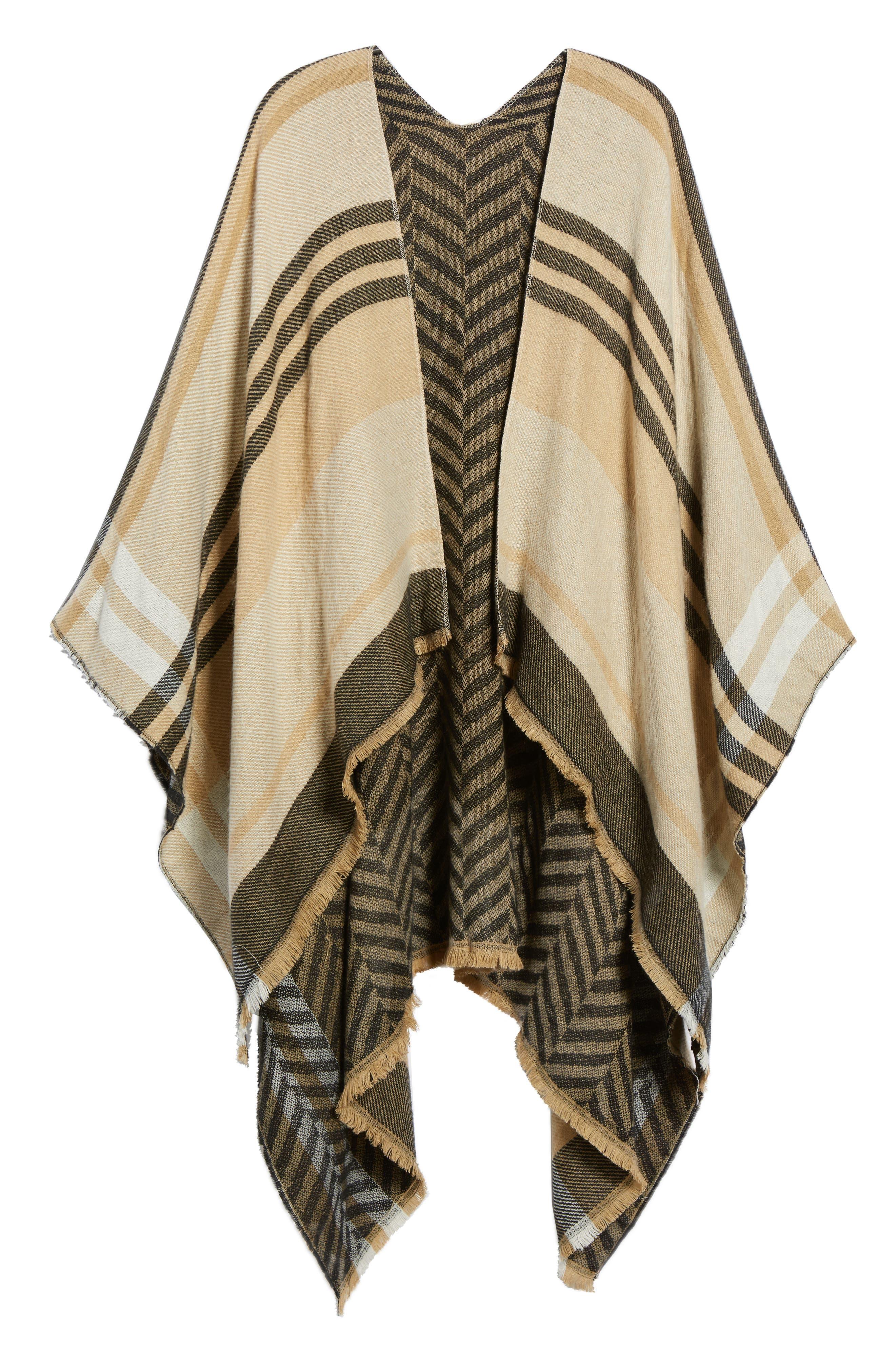 Stripe Woven Cape,                             Alternate thumbnail 5, color,                             Tan Multi